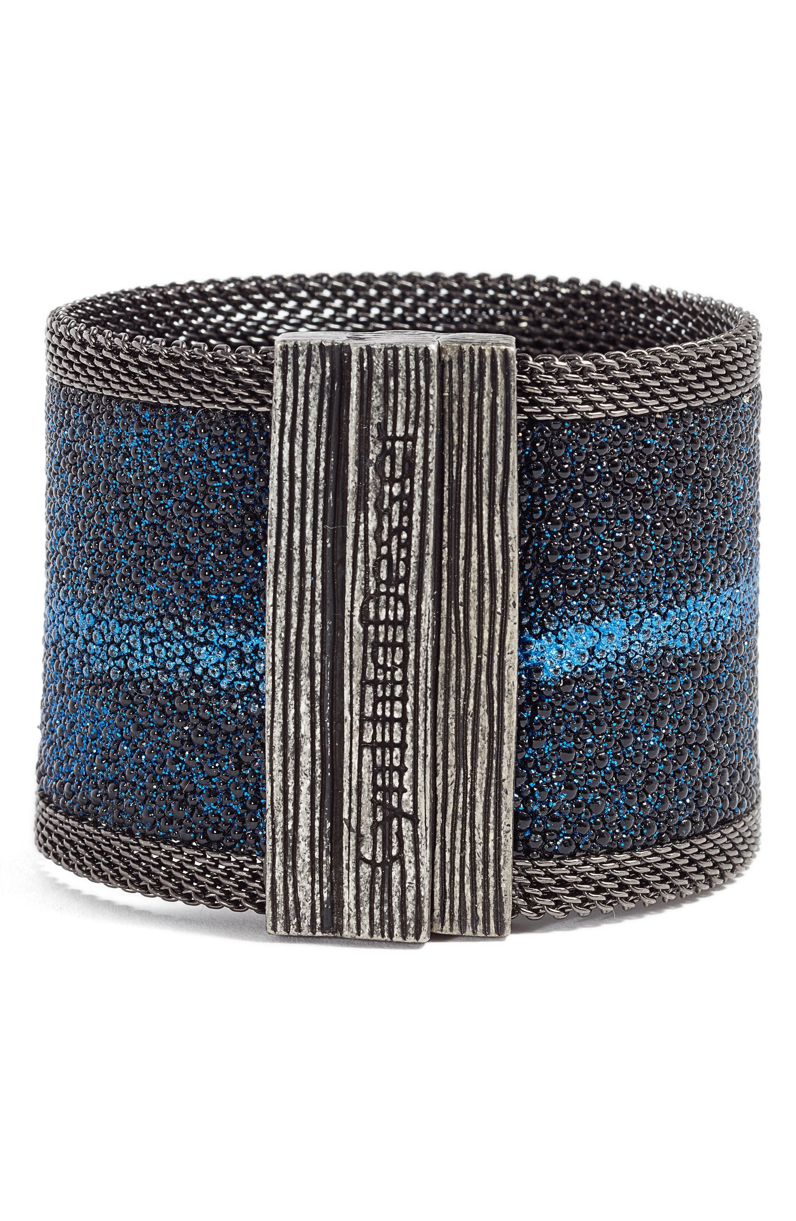 Shimmer Stingray Bracelet,                             Alternate thumbnail 3, color,                             Cobalt Blue/ Gunmetal