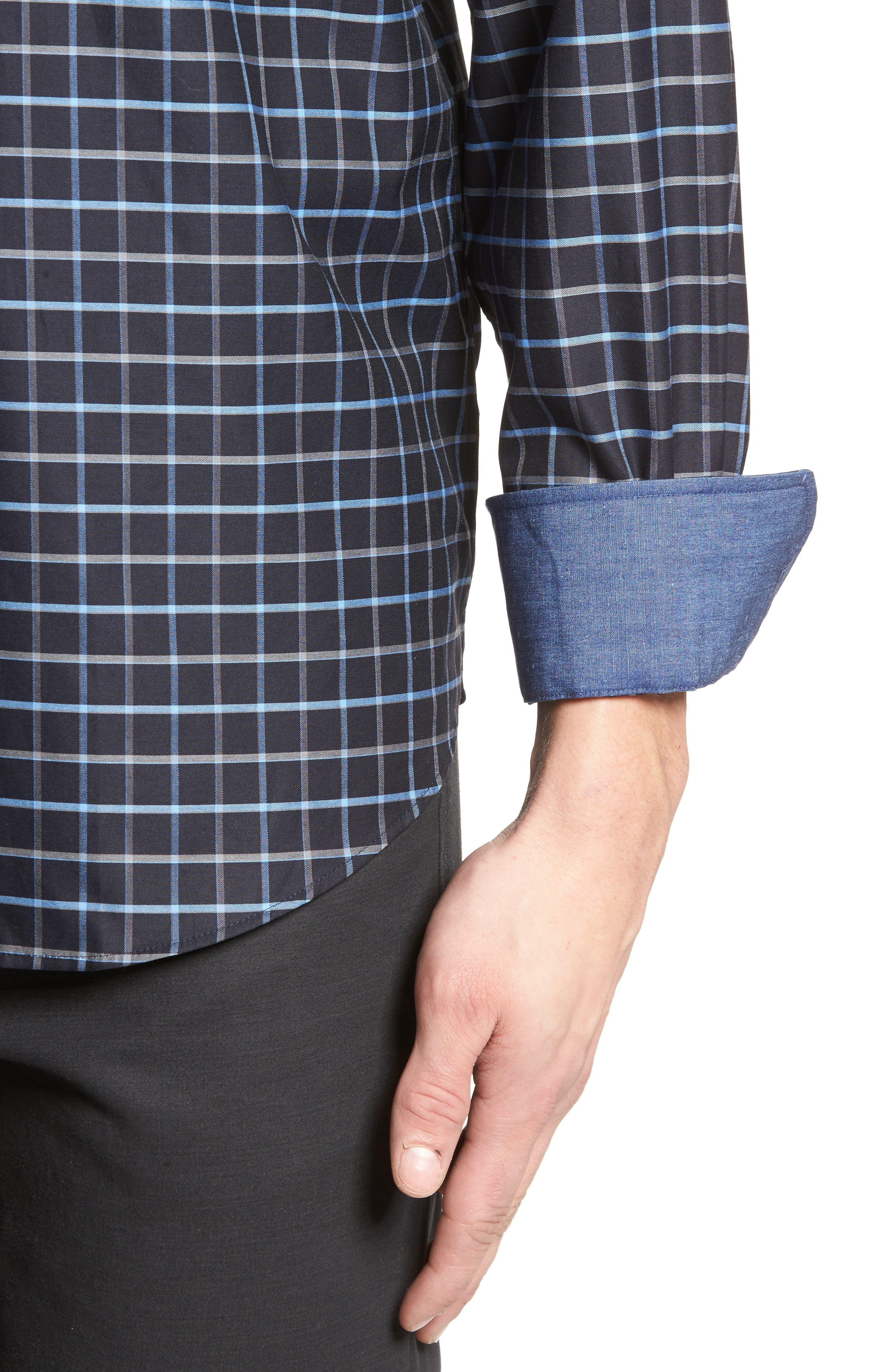 Alternate Image 4  - Bugatchi Classic Fit Grid Print Sport Shirt