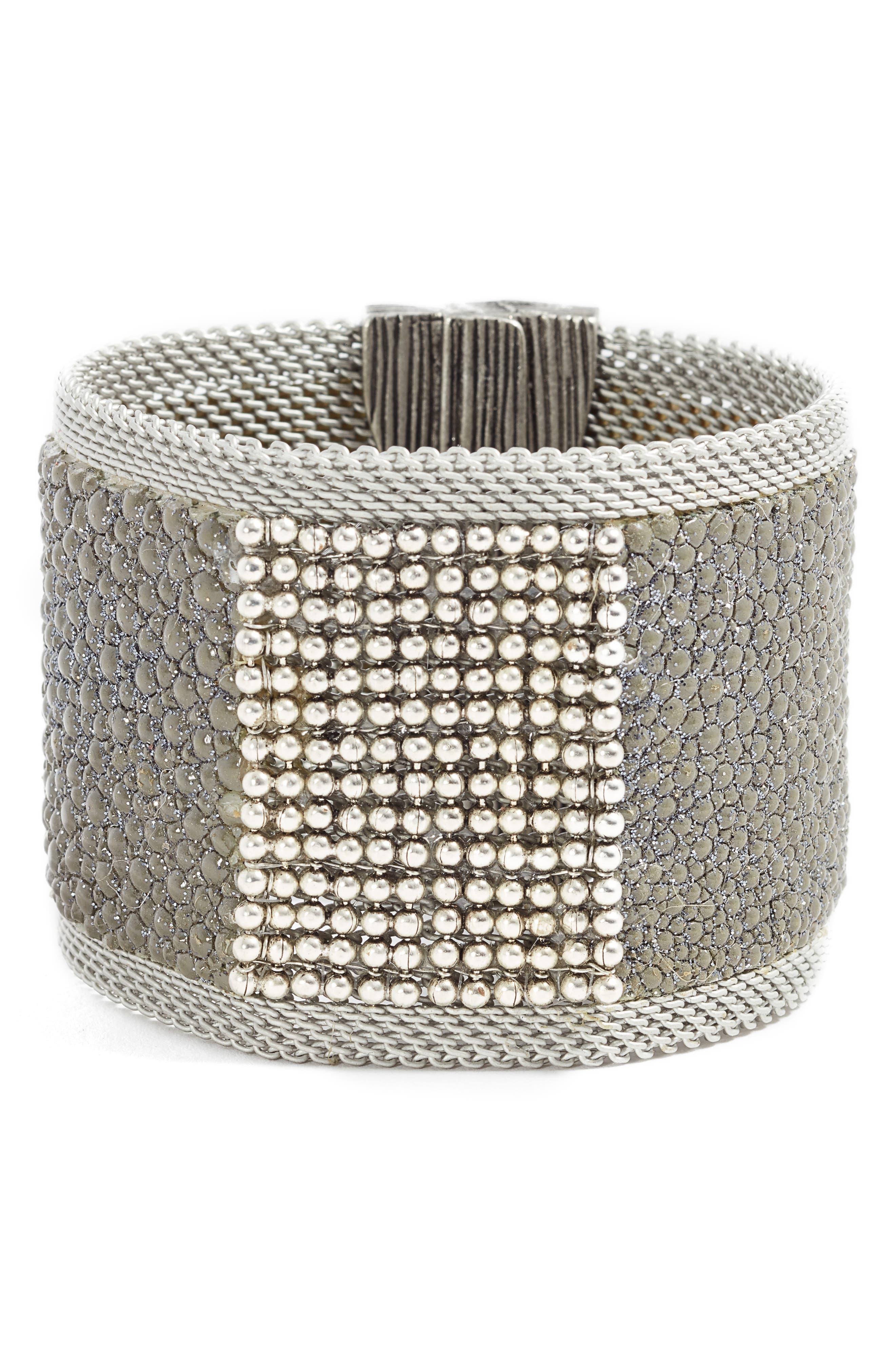 Wide Shimmer Stingray Bracelet,                             Main thumbnail 1, color,                             Grey/ Silver