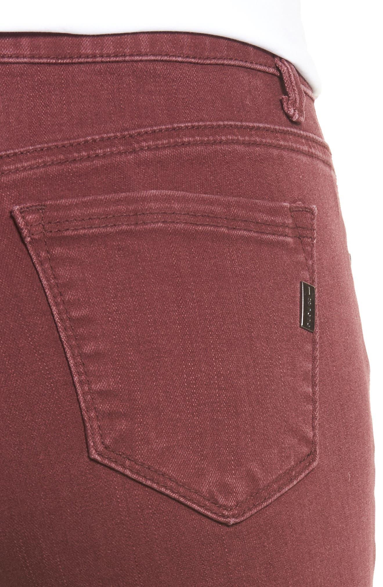 Raw Hem Skinny Jeans,                             Alternate thumbnail 4, color,                             Rumba Red