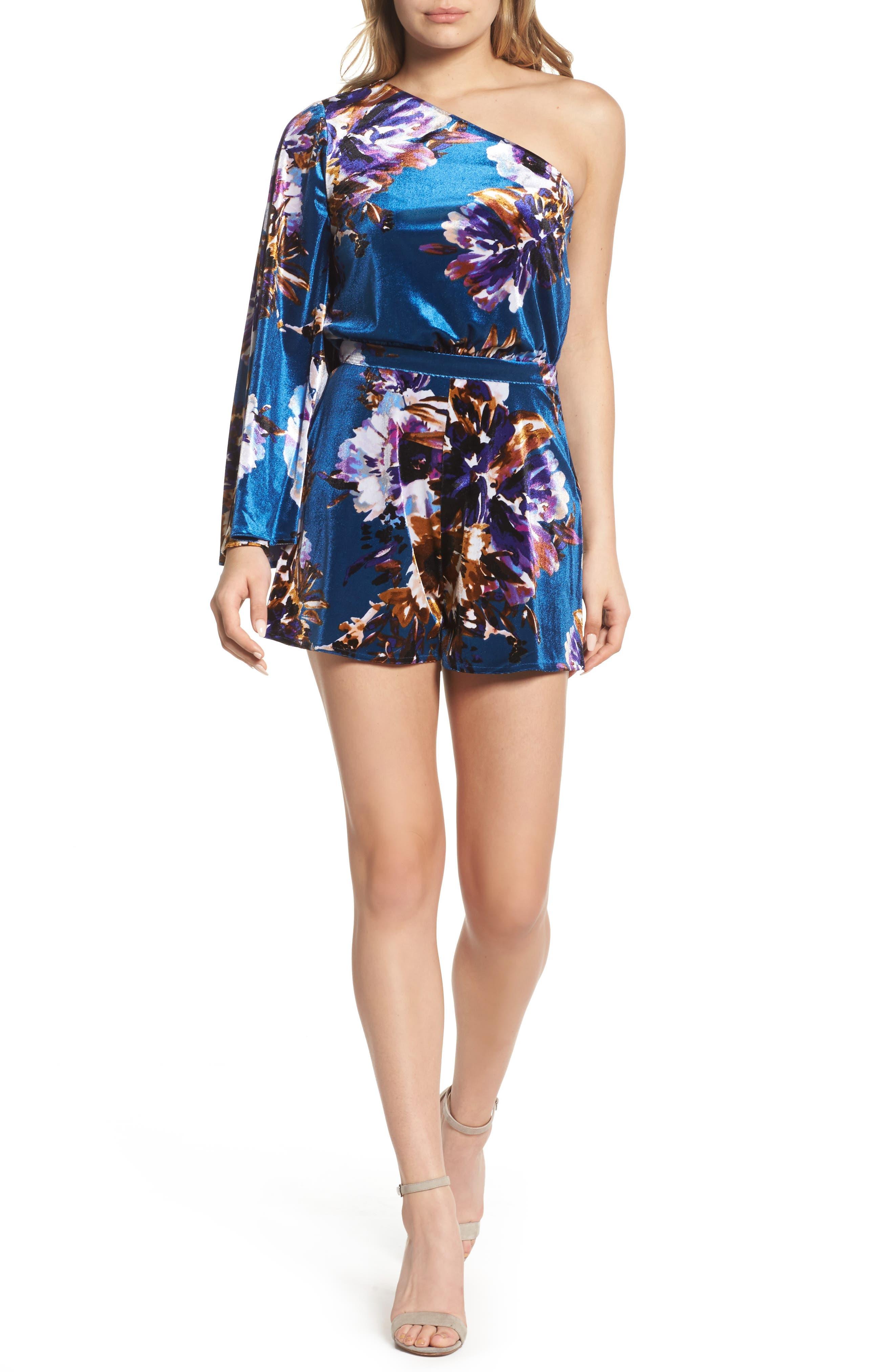 Love On The Run Velvet Romper,                         Main,                         color, French Blue Floral Velvet