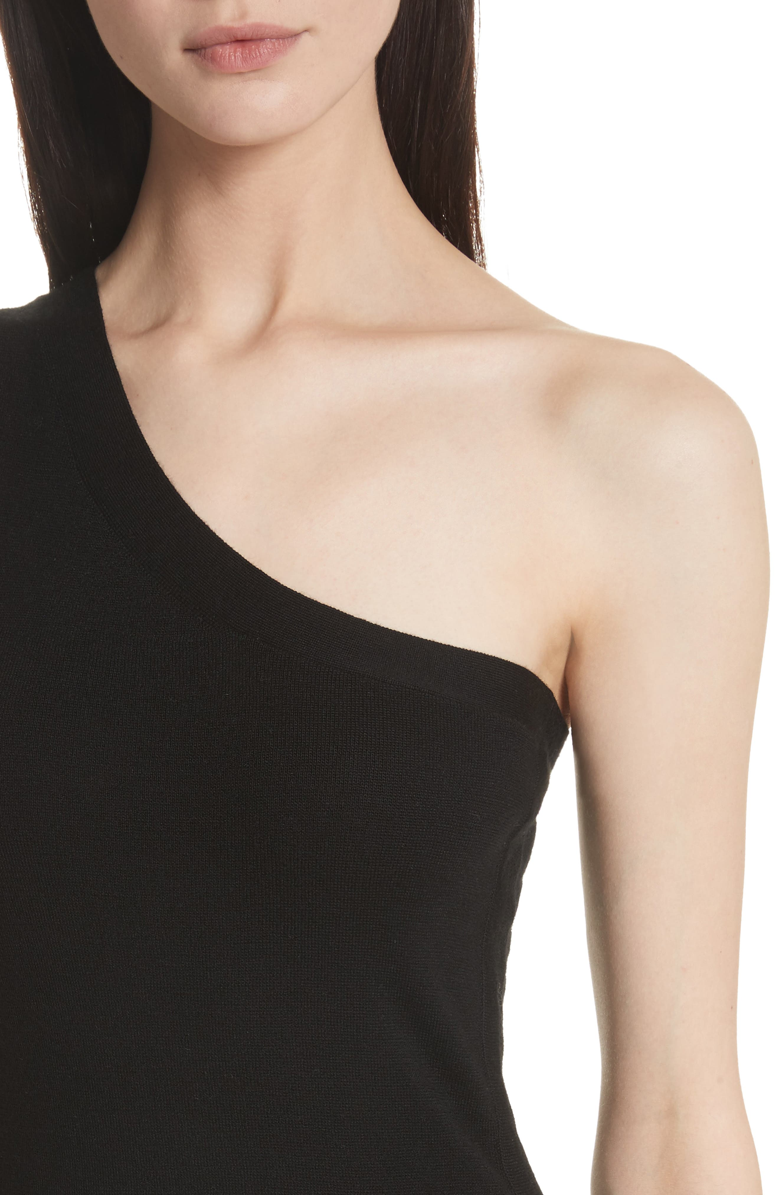 Ruched Merino Wool One-Shoulder Dress,                             Alternate thumbnail 4, color,                             Black