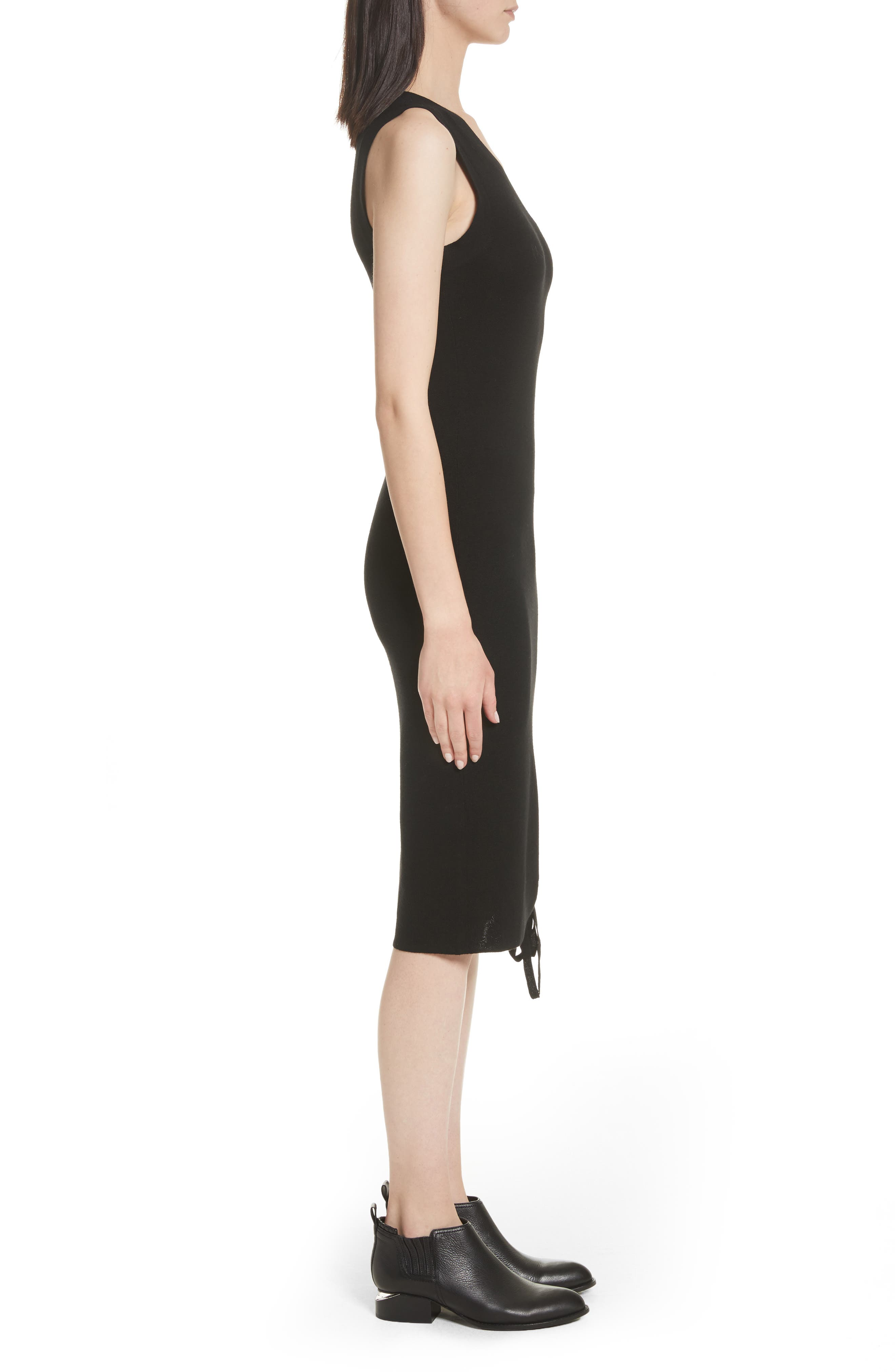 Ruched Merino Wool One-Shoulder Dress,                             Alternate thumbnail 3, color,                             Black