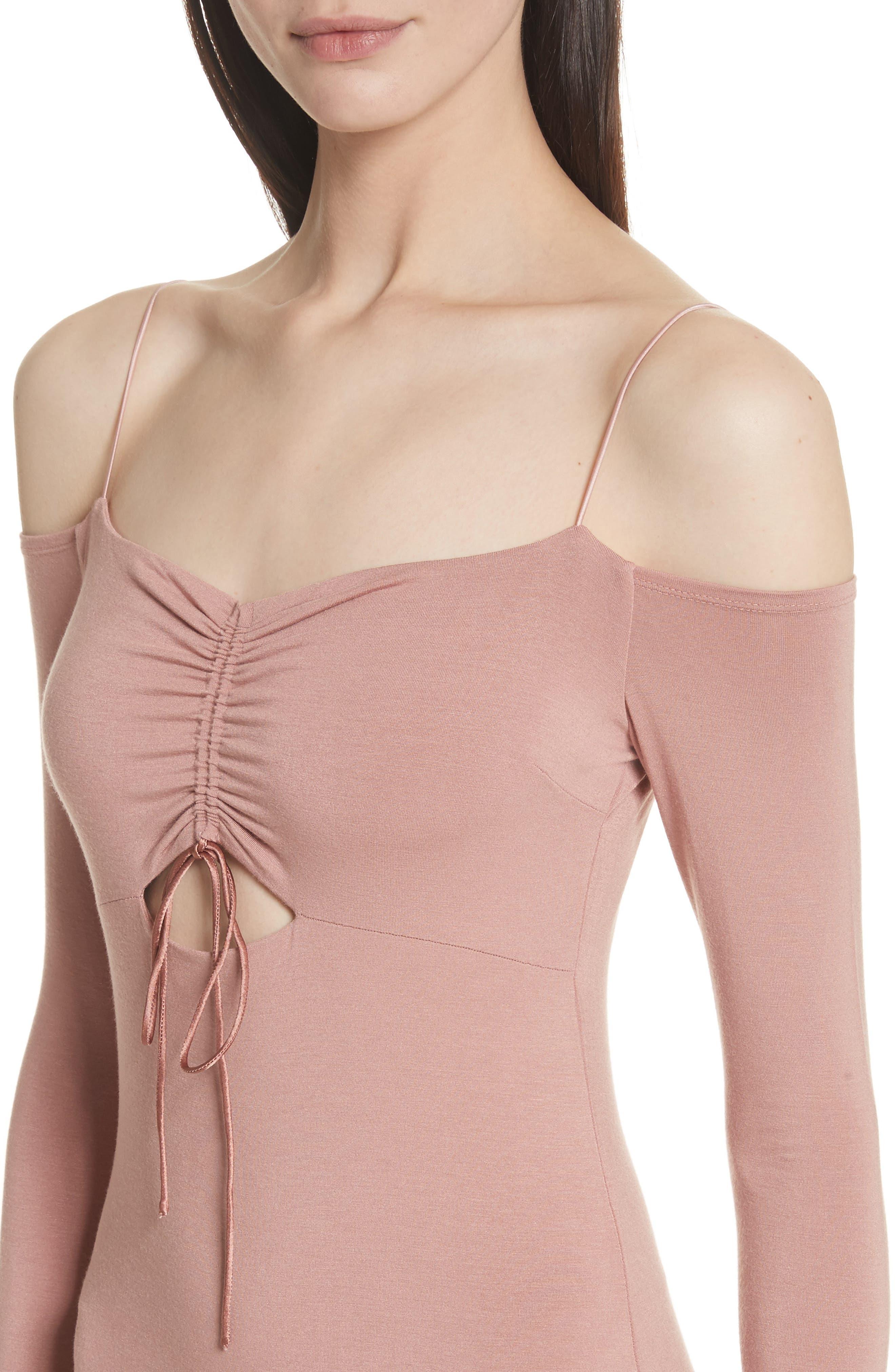 Stretch Jersey Cold Shoulder Dress,                             Alternate thumbnail 4, color,                             Guava