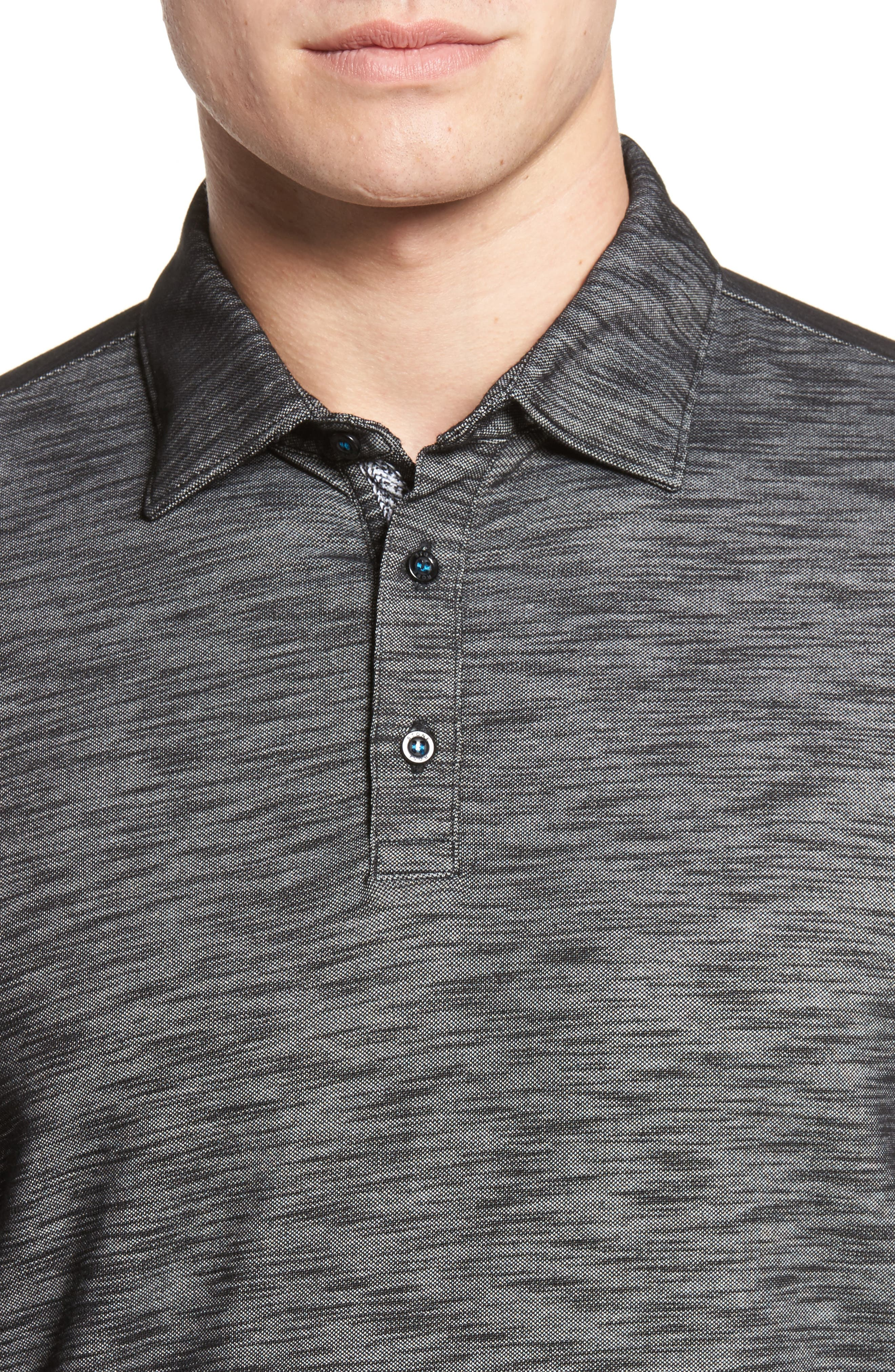 Flame Knit Polo,                             Alternate thumbnail 4, color,                             Black