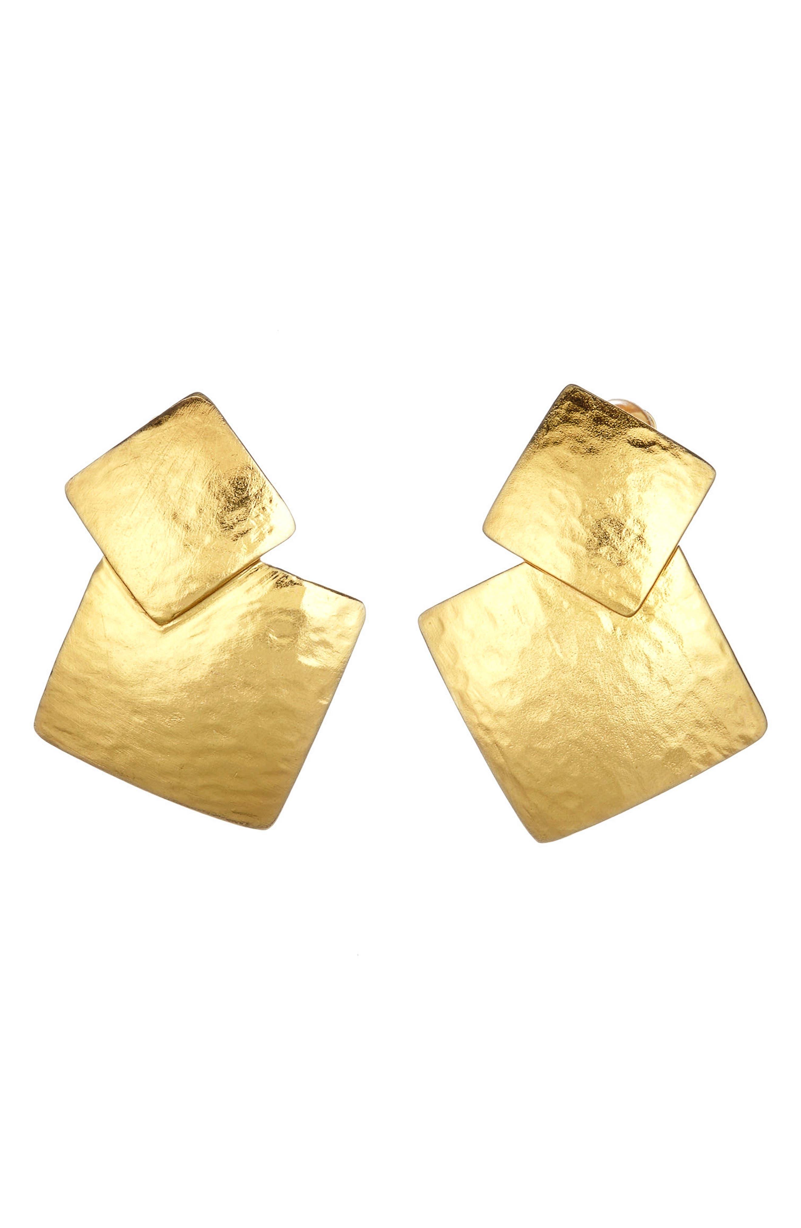 Main Image - Oscar de la Renta Geo Collage Clip Earrings