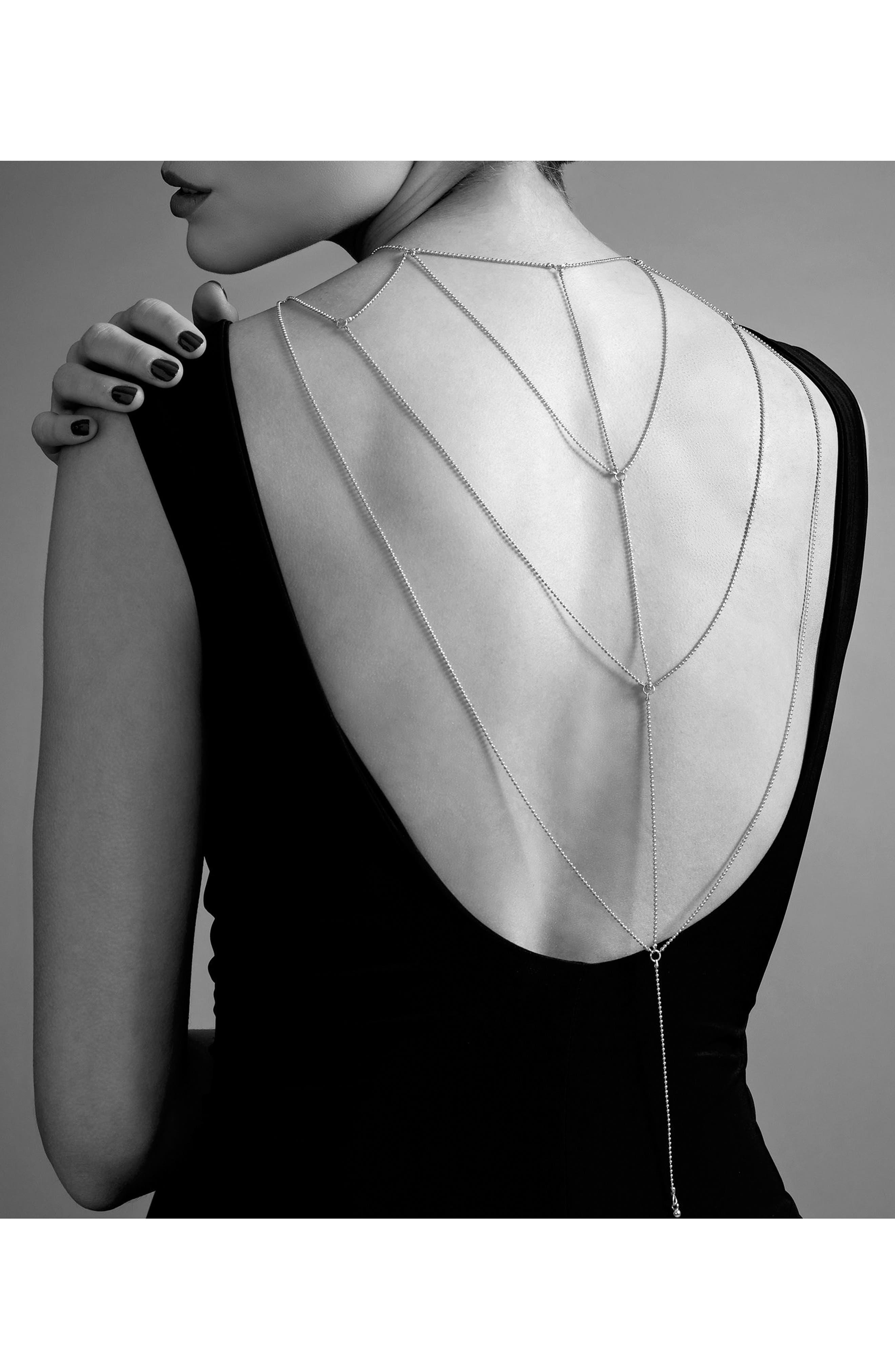 Magnifique Body Chain,                         Main,                         color, Silver