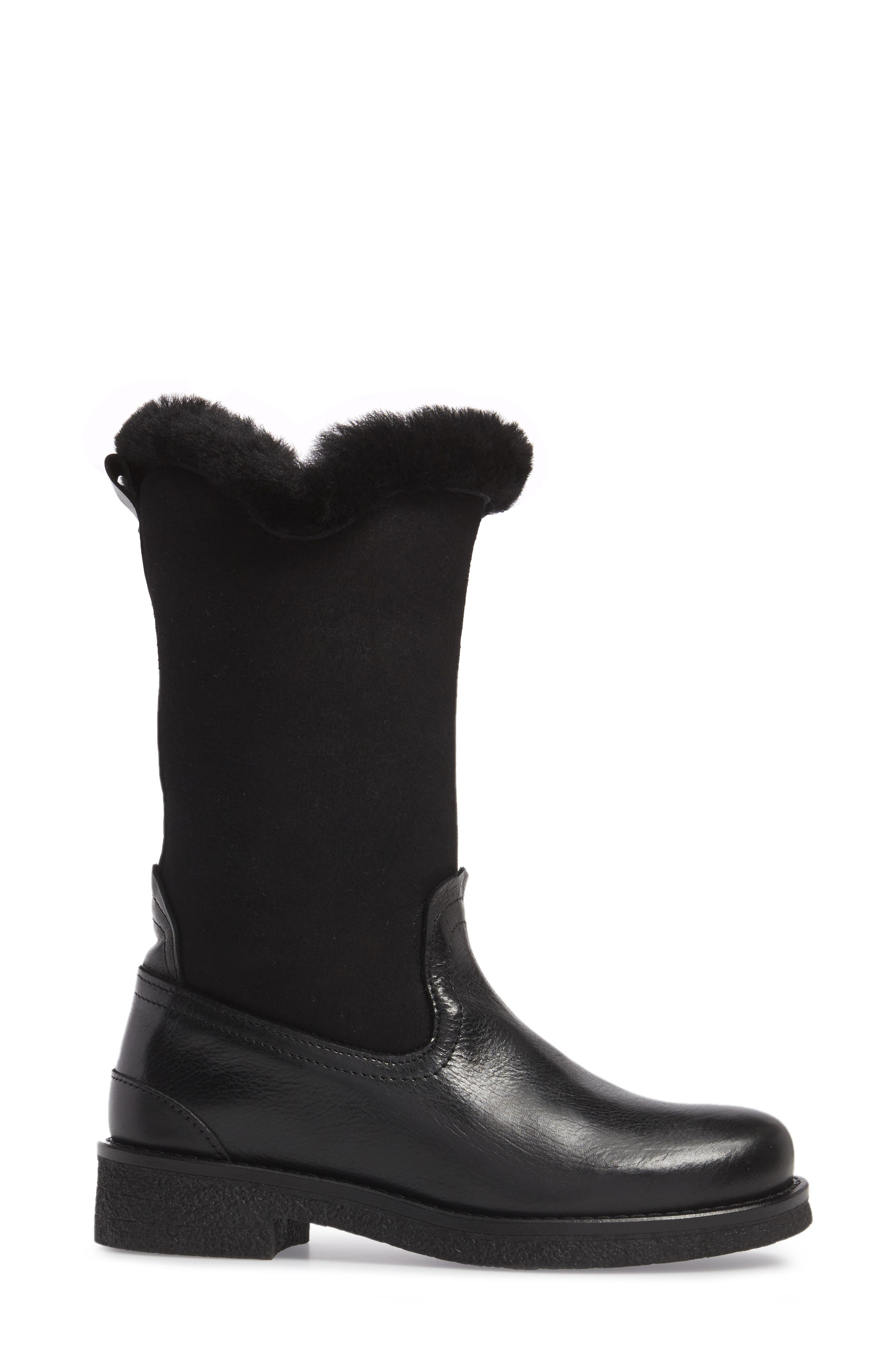 Amarillo Waterproof Insulated Snow Boot,                             Alternate thumbnail 3, color,                             Black Fur Leather