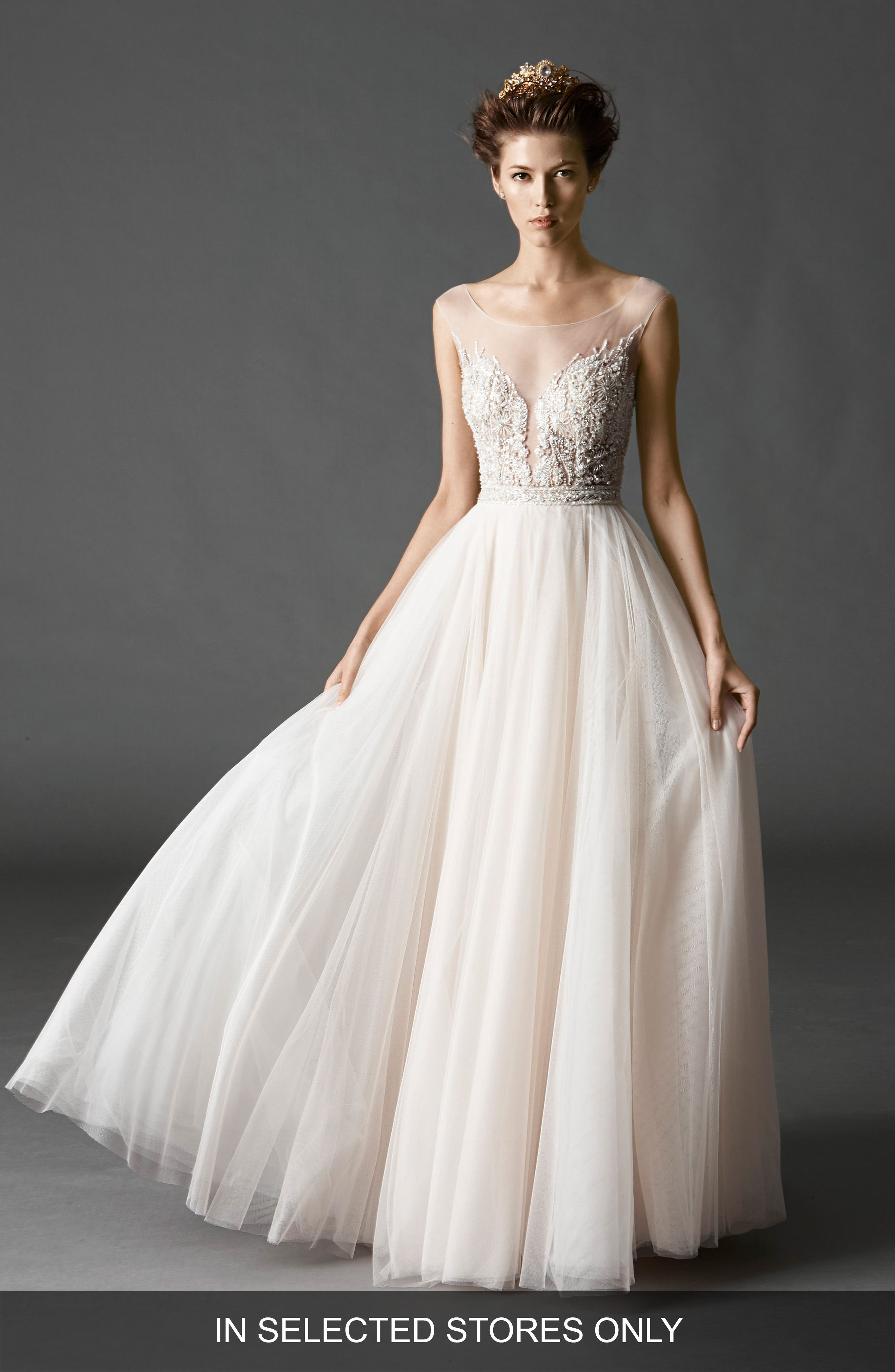 Kaliah Embroidered A-Line Gown,                             Main thumbnail 1, color,                             Light Nude/ Whisper Pink