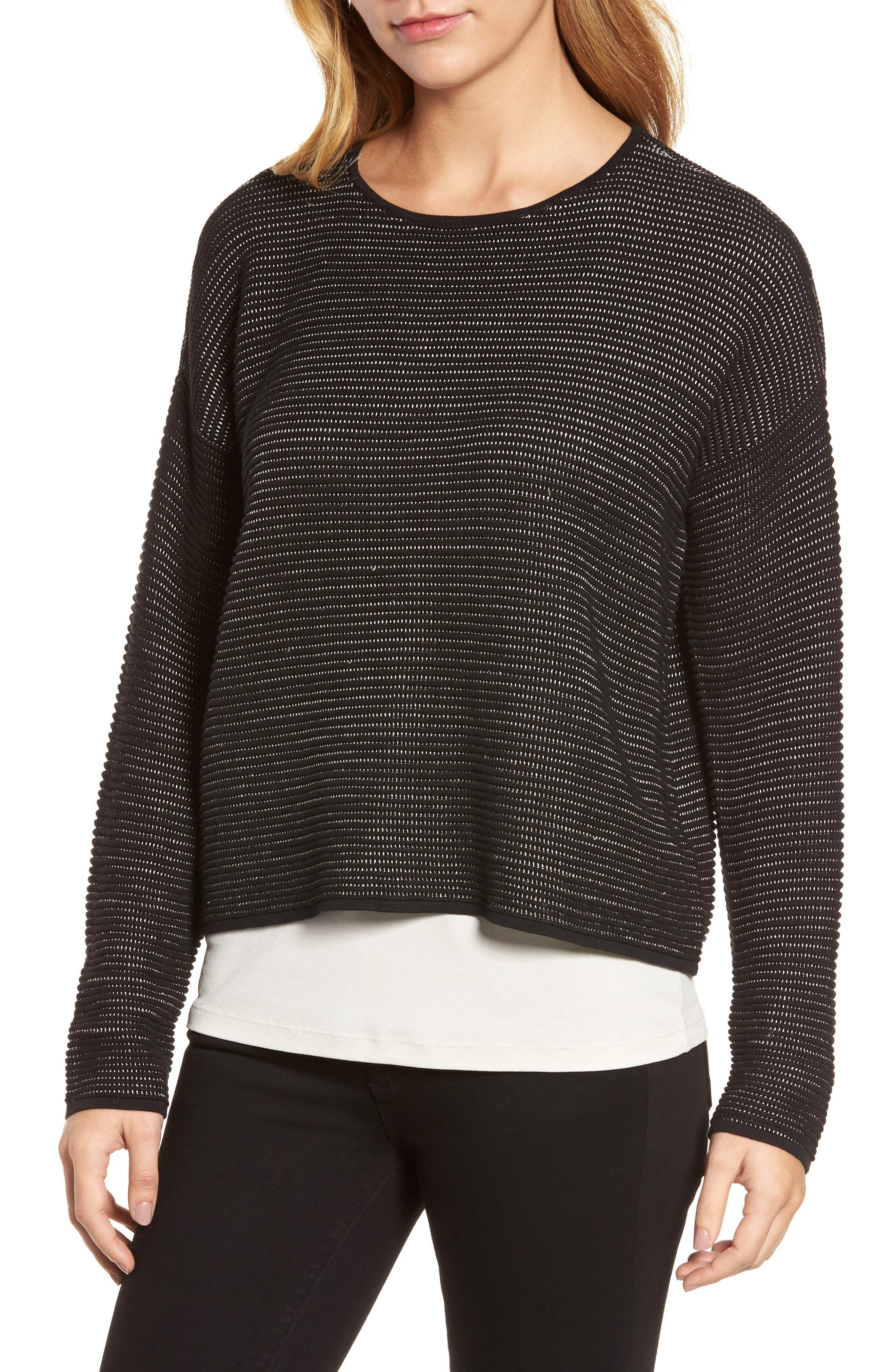 Main Image - Eileen Fisher Boxy Silk Blend Top (Regular & Petite)