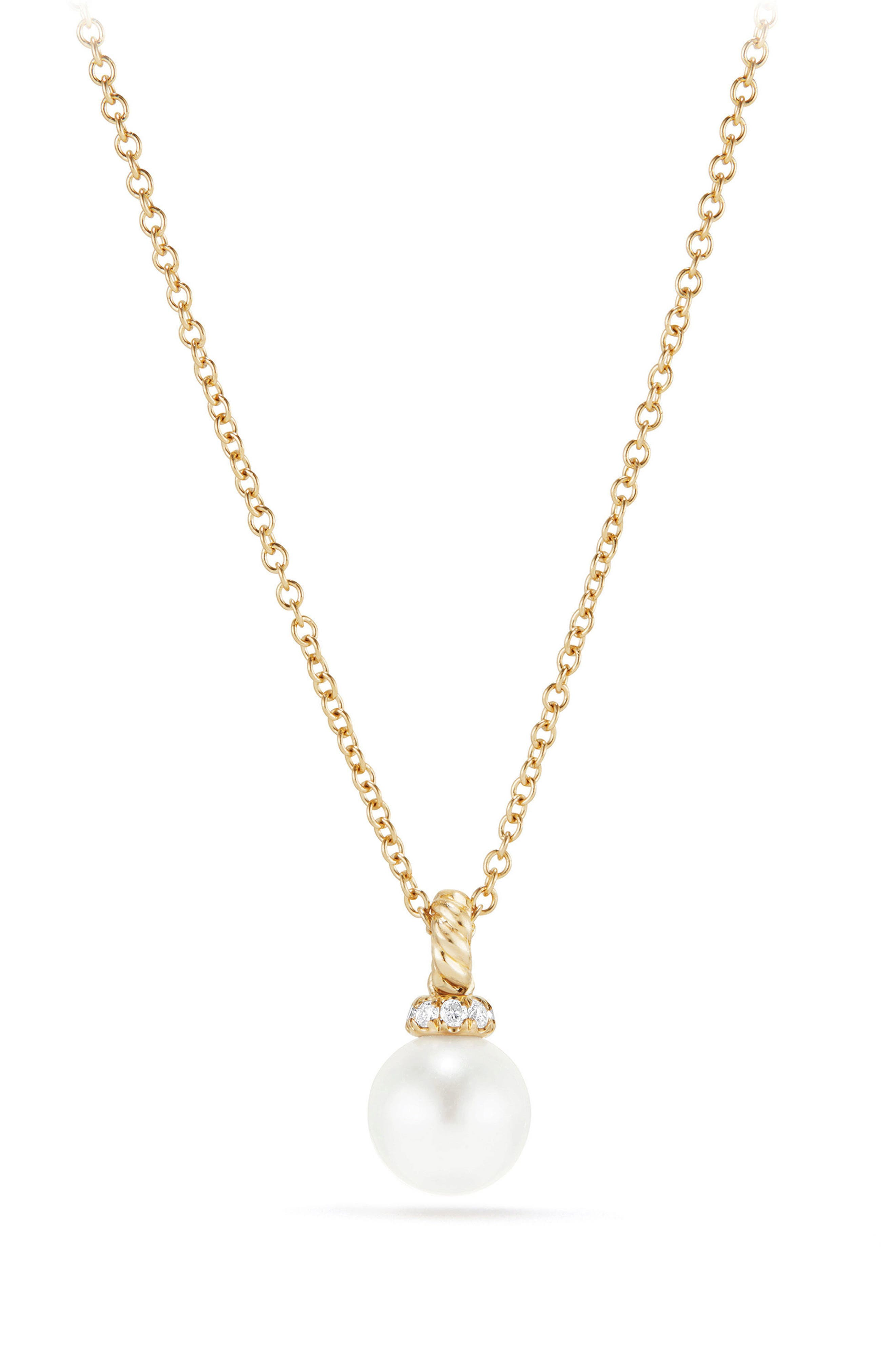 Solari Pendant Necklace with Pearl & Diamonds in 18K Gold,                         Main,                         color, Yellow Gold/ Diamond/ Pearl