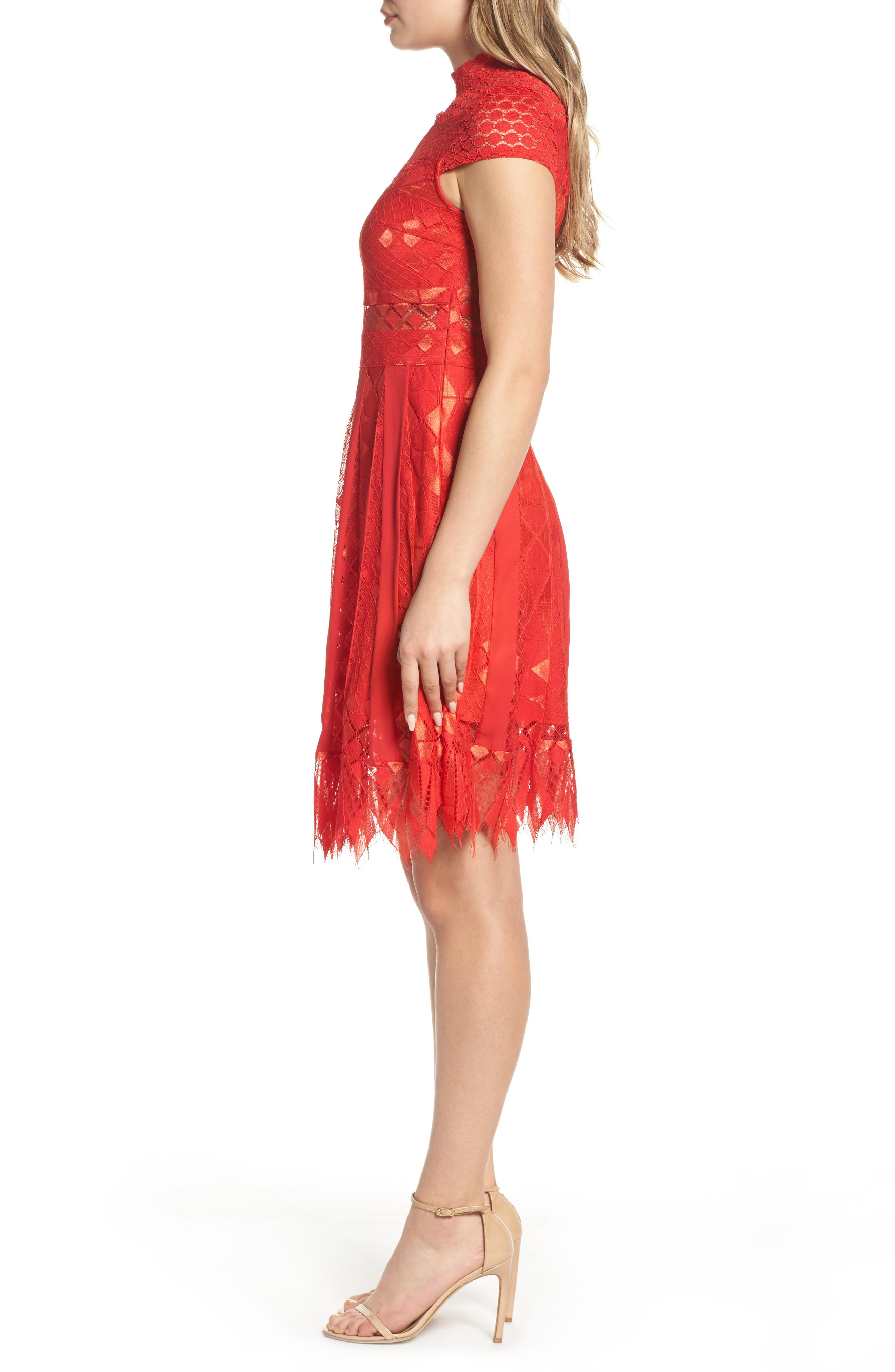 Bravo Zulu Lace Fit & Flare Dress,                             Alternate thumbnail 3, color,                             Red Blush