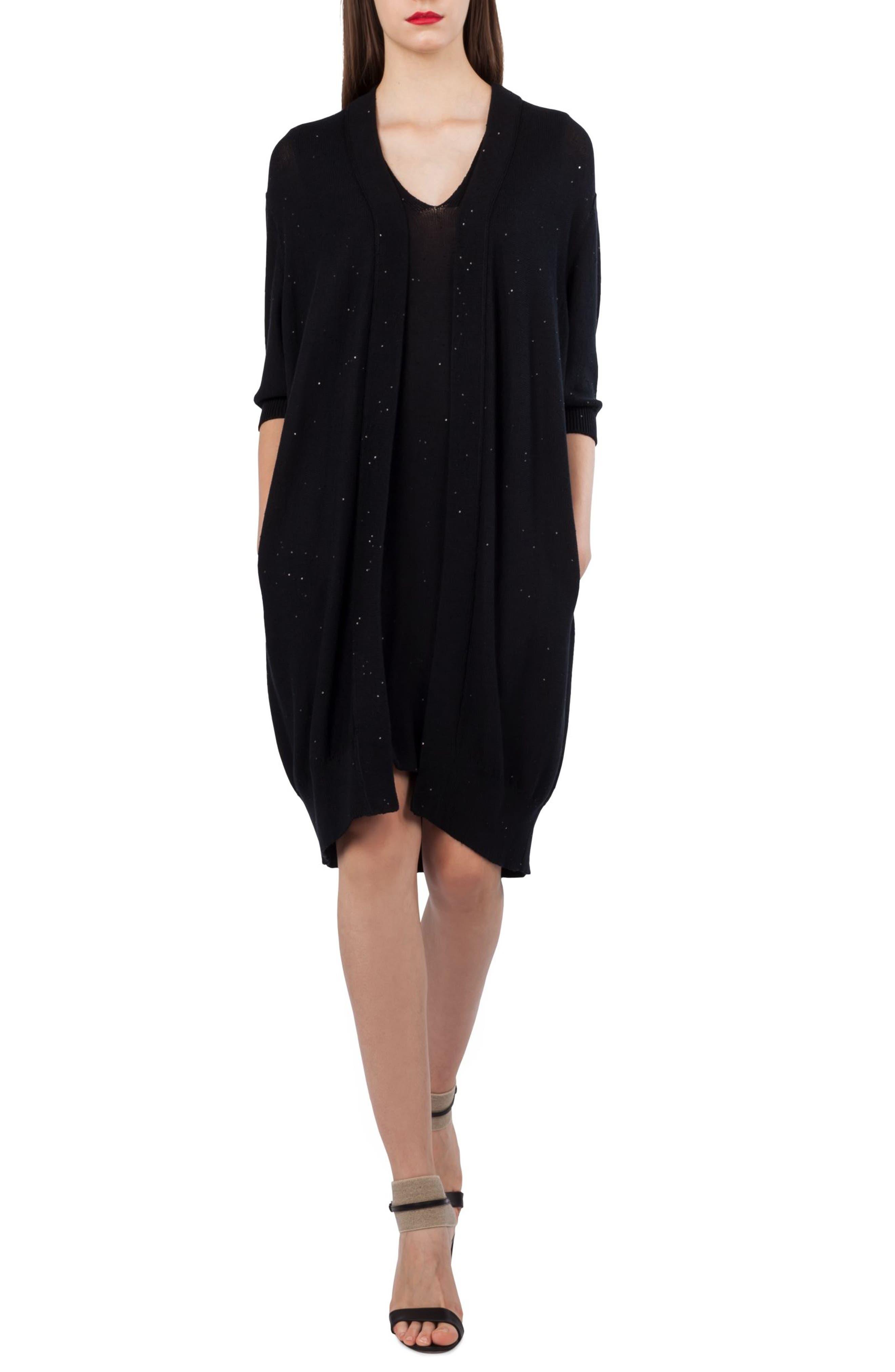 Sequin Knit Silk & Cotton Dress,                             Alternate thumbnail 3, color,                             Black