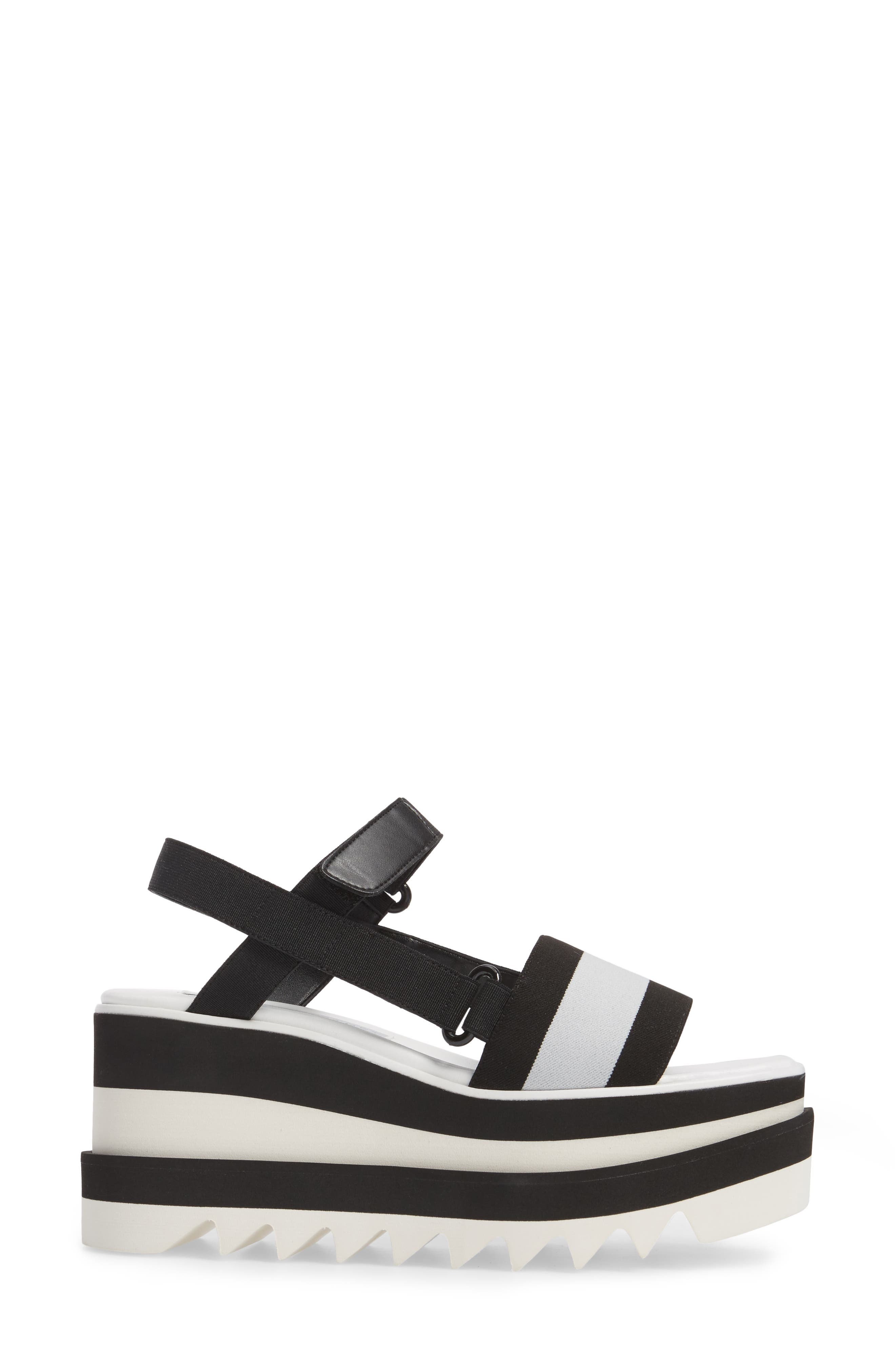 Stripe Platform Sandal,                             Alternate thumbnail 3, color,                             Black/ White