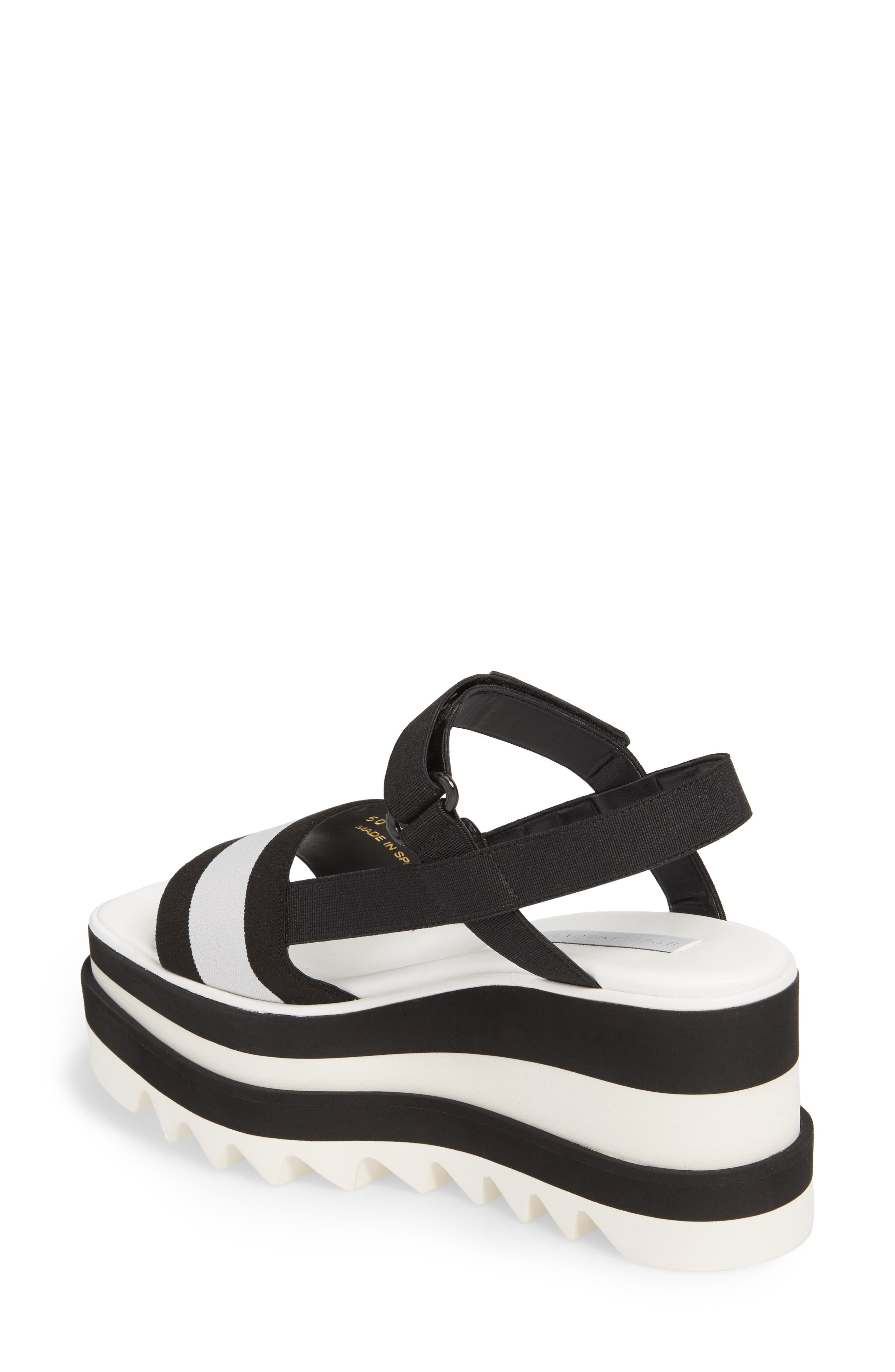 Stripe Platform Sandal,                             Alternate thumbnail 2, color,                             Black/ White
