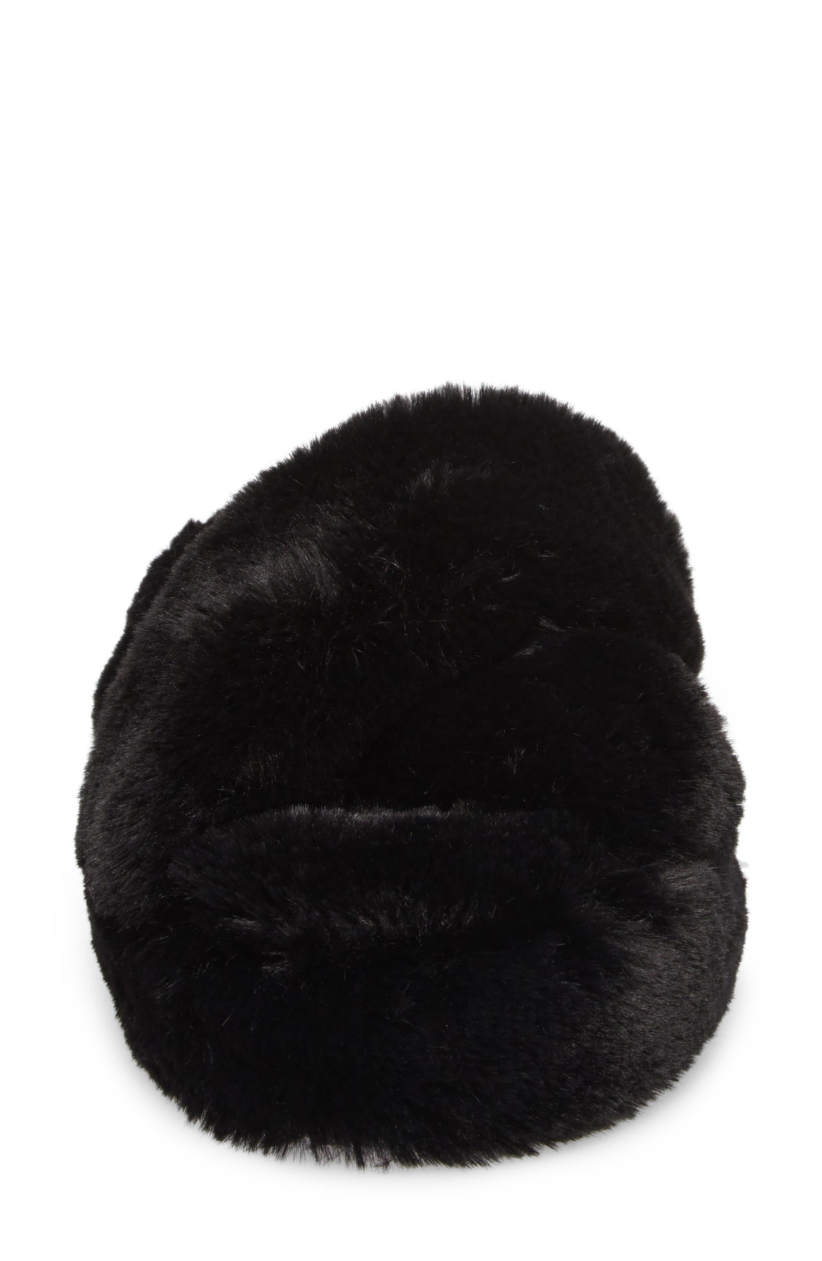 Comfy Faux Fur Slipper,                             Alternate thumbnail 4, color,                             Black