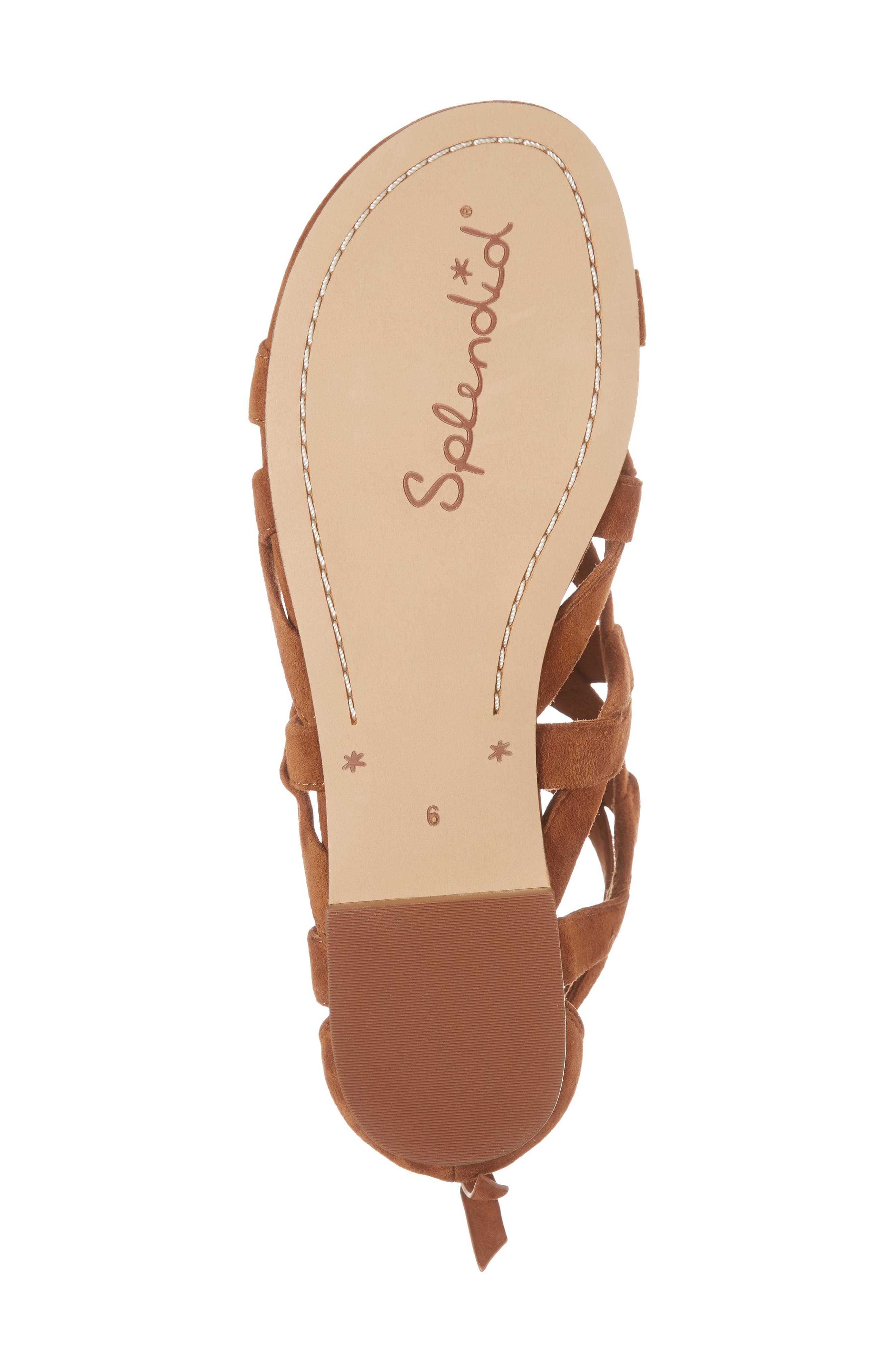 Barrett Mid Top Cage Sandal,                             Alternate thumbnail 6, color,                             Caramel Suede