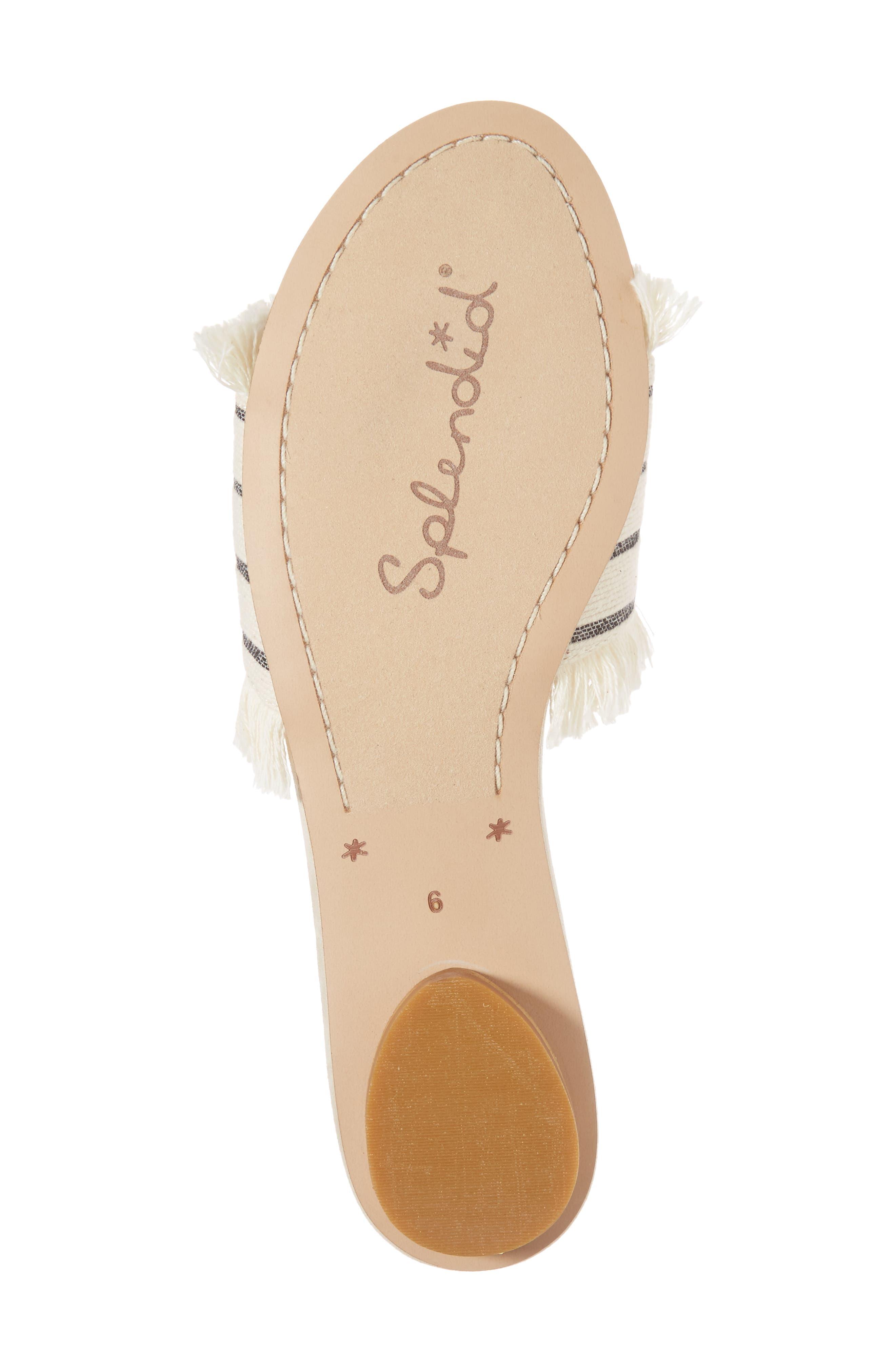 Baldwyn Fringe Slide Sandal,                             Alternate thumbnail 6, color,                             Cream Leather