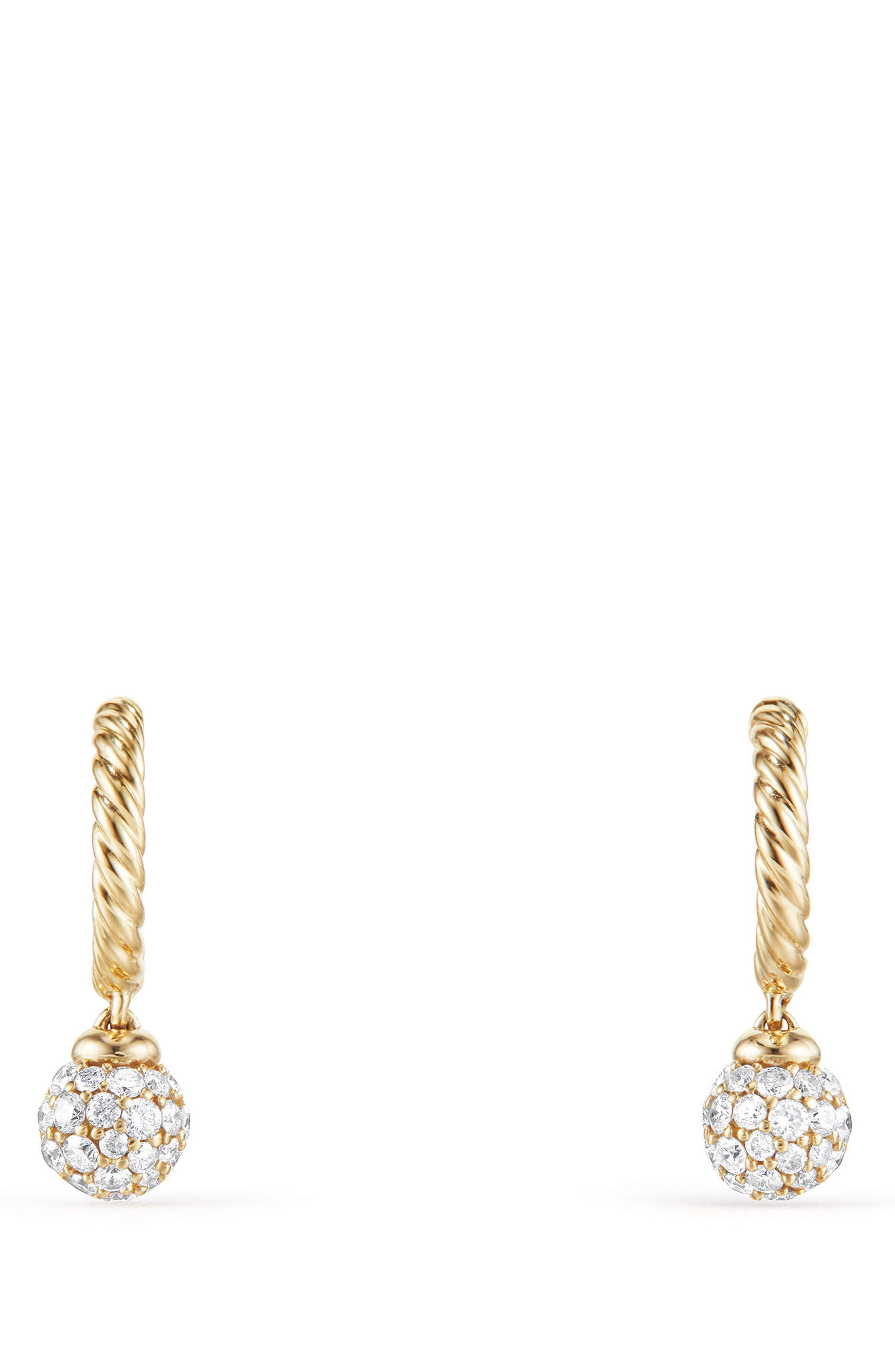 Petite Solari Hoop Pavé Earrings with Diamonds in 18K Gold,                             Alternate thumbnail 2, color,                             Yellow Gold/ Diamond