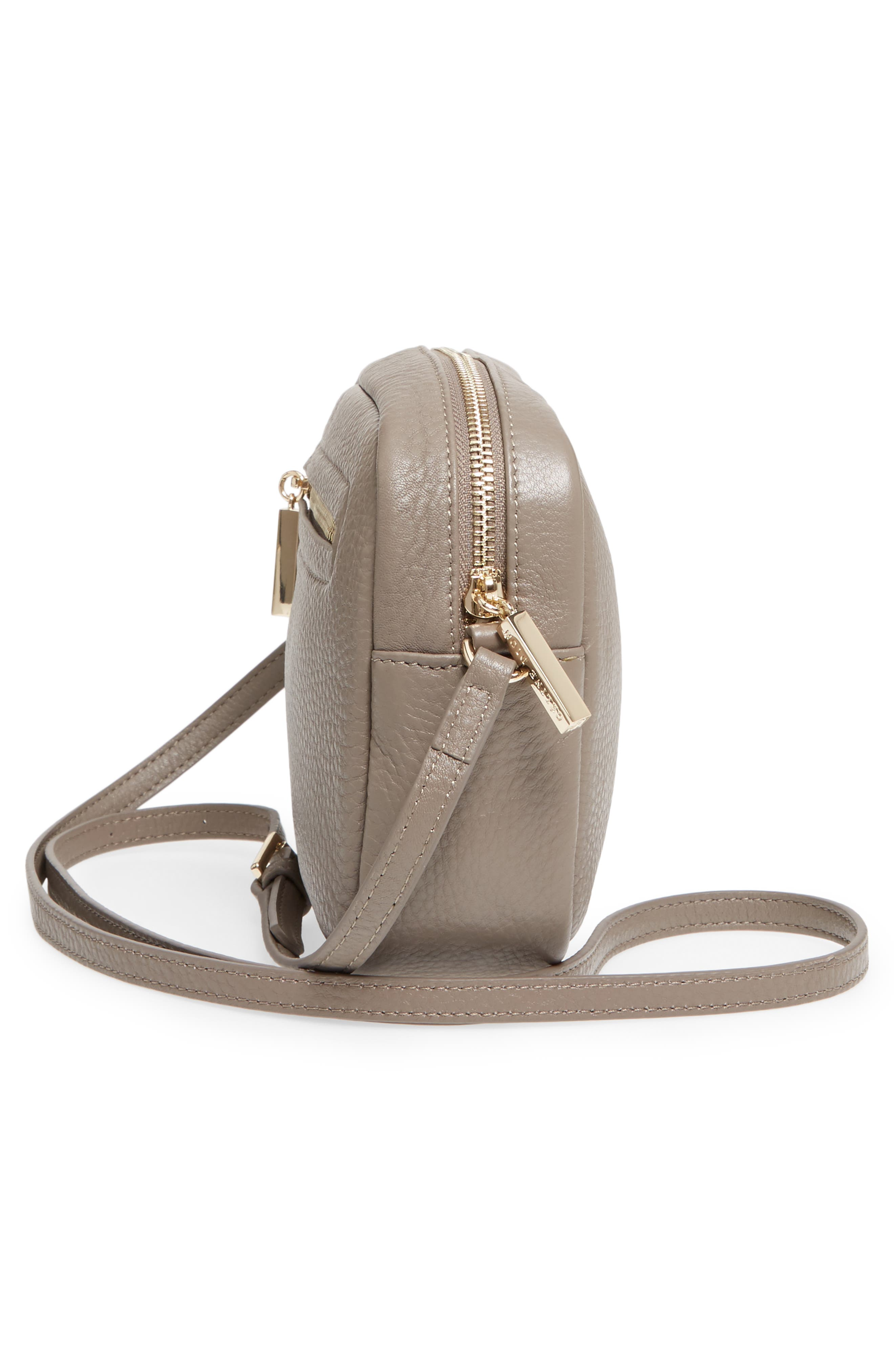 Céline Dion Adagio Leather Camera Crossbody Bag,                             Alternate thumbnail 5, color,                             Taupe