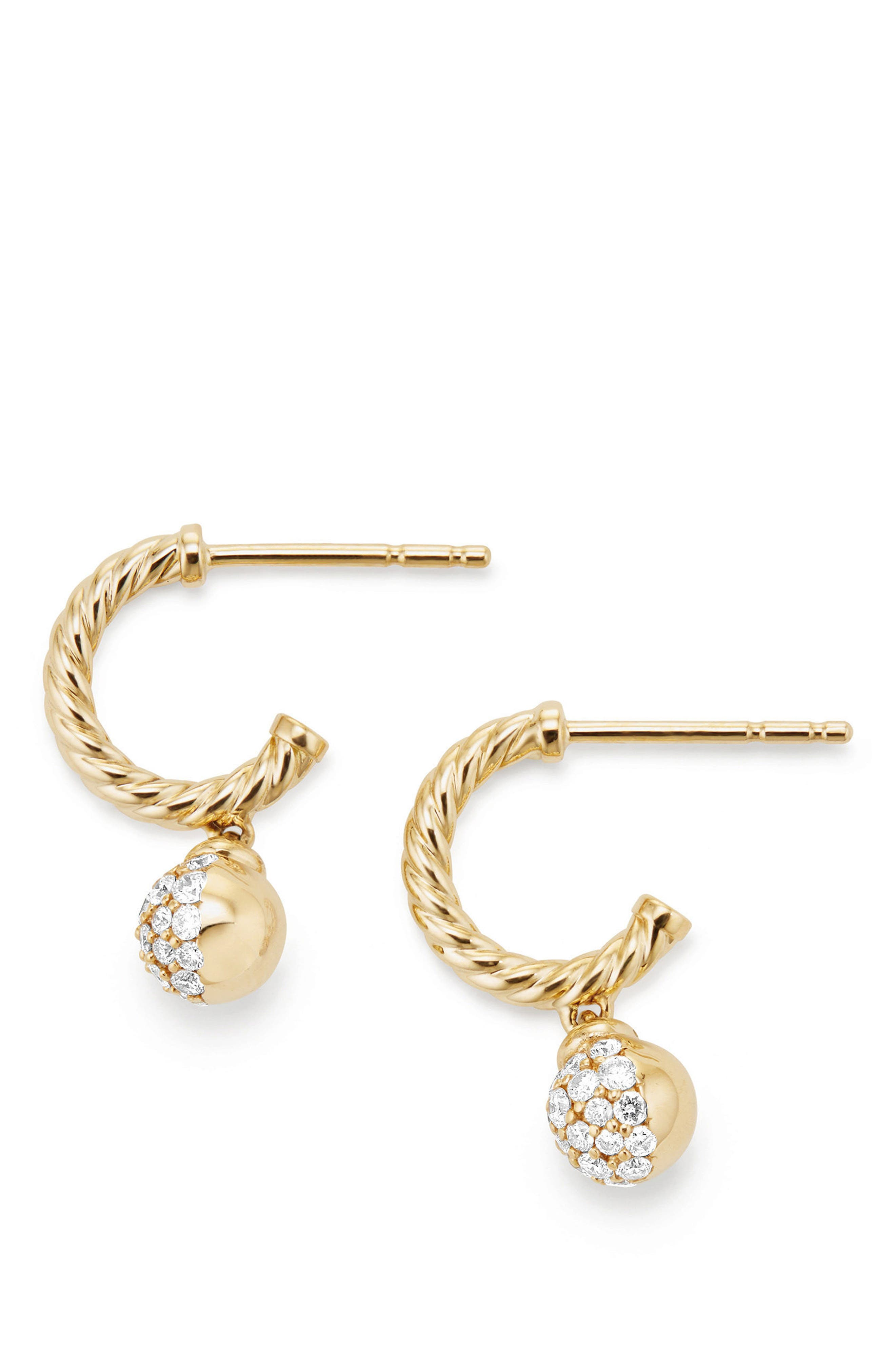 Petite Solari Hoop Pavé Earrings with Diamonds in 18K Gold,                         Main,                         color, Yellow Gold/ Diamond