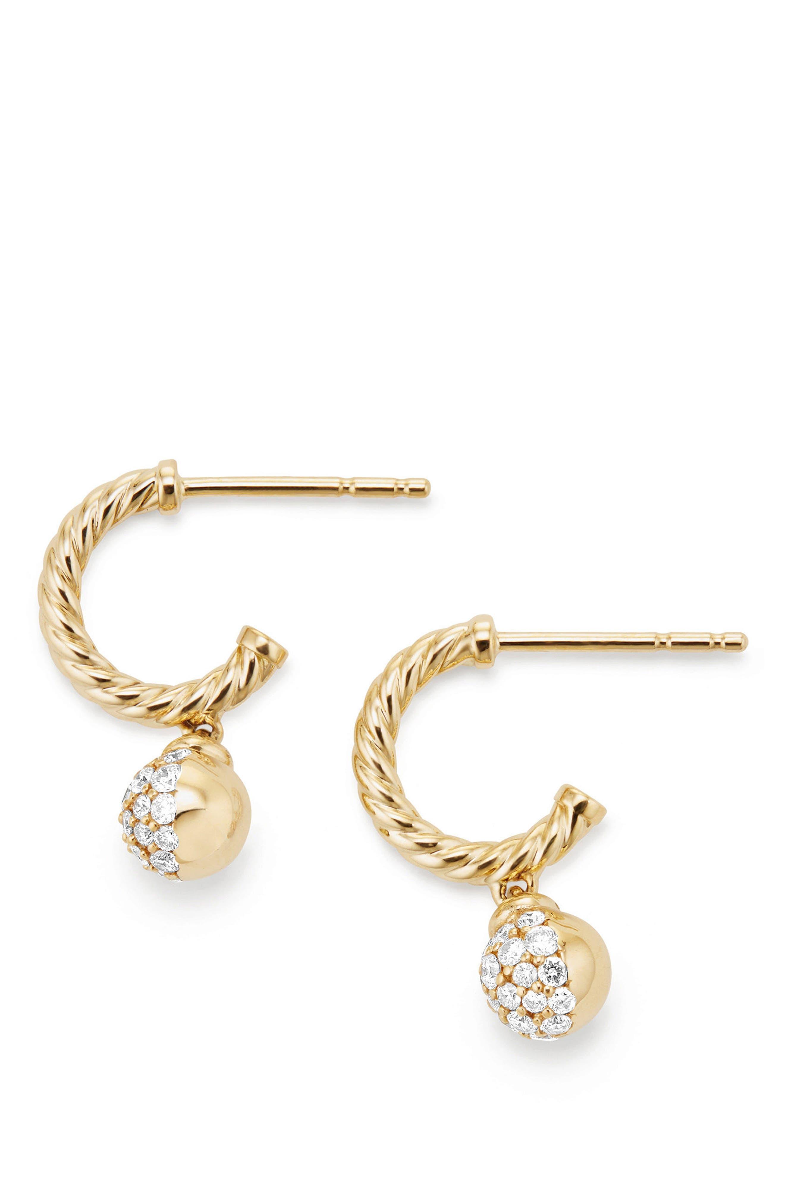 David Yurman Petite Solari Hoop Pavé Earrings with Diamonds in 18K Gold