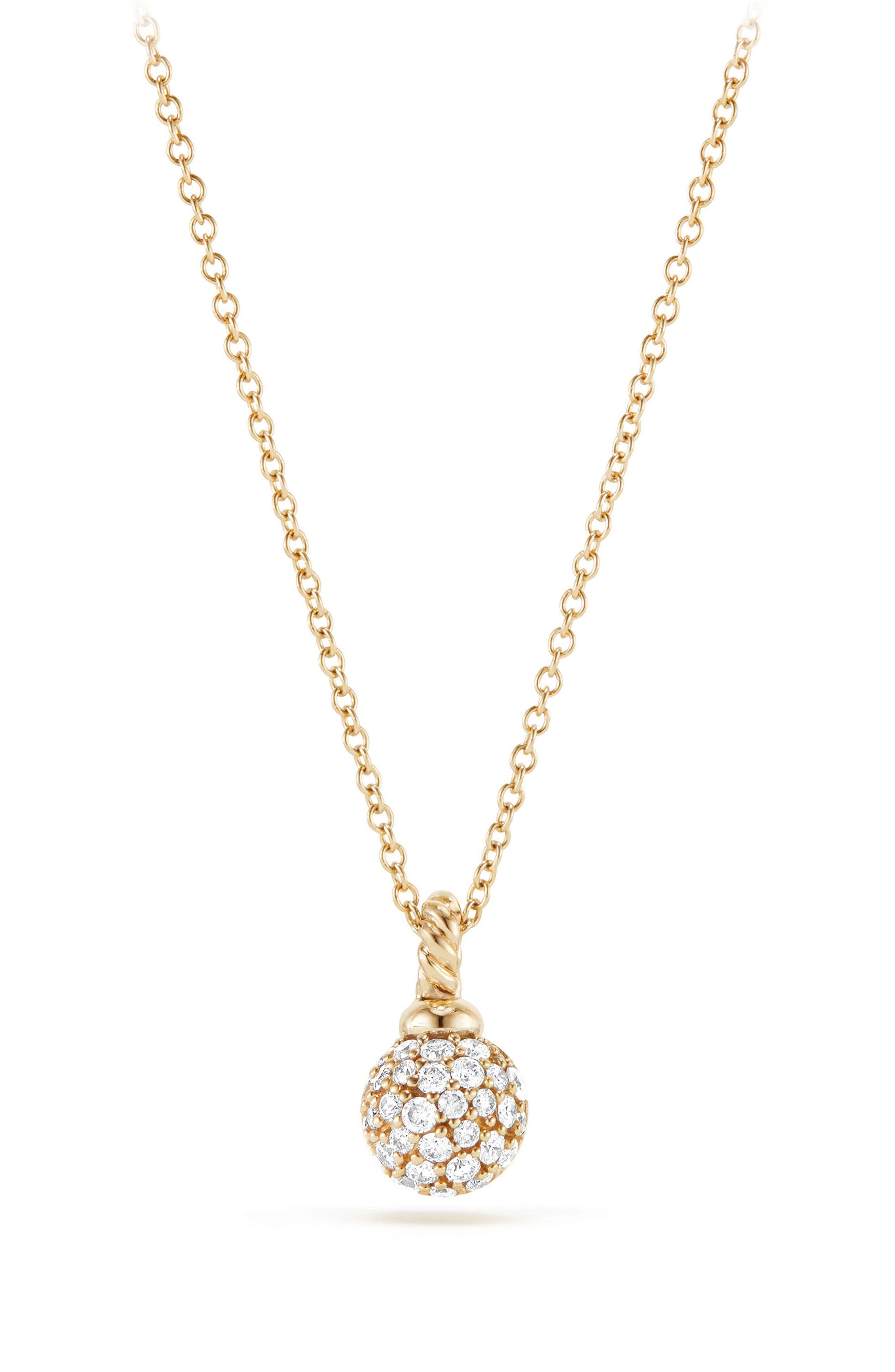 Petite Solari Pavé Necklace with Diamonds in 18K Gold,                             Main thumbnail 1, color,                             Yellow Gold/ Diamond