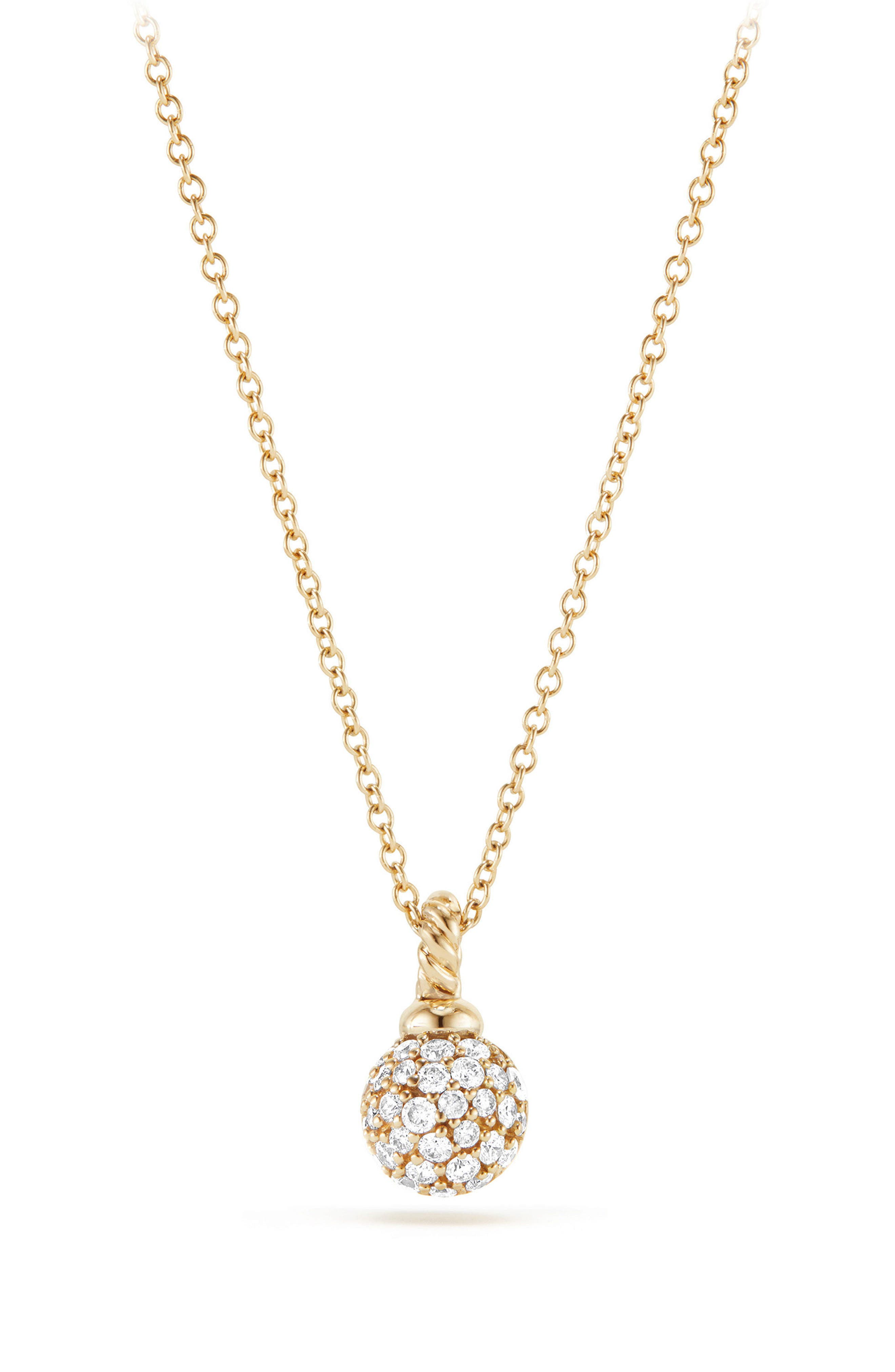 David Yurman Petite Solari Pavé Necklace with Diamonds in 18K Gold