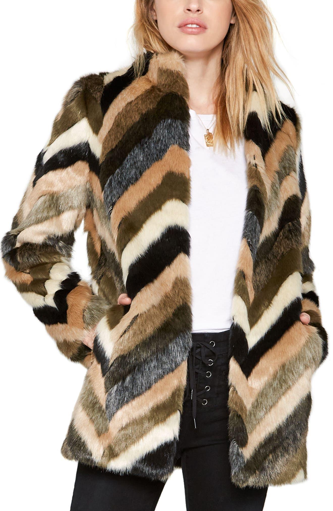 Waylon Faux Fur Jacket,                         Main,                         color, Brown Multi