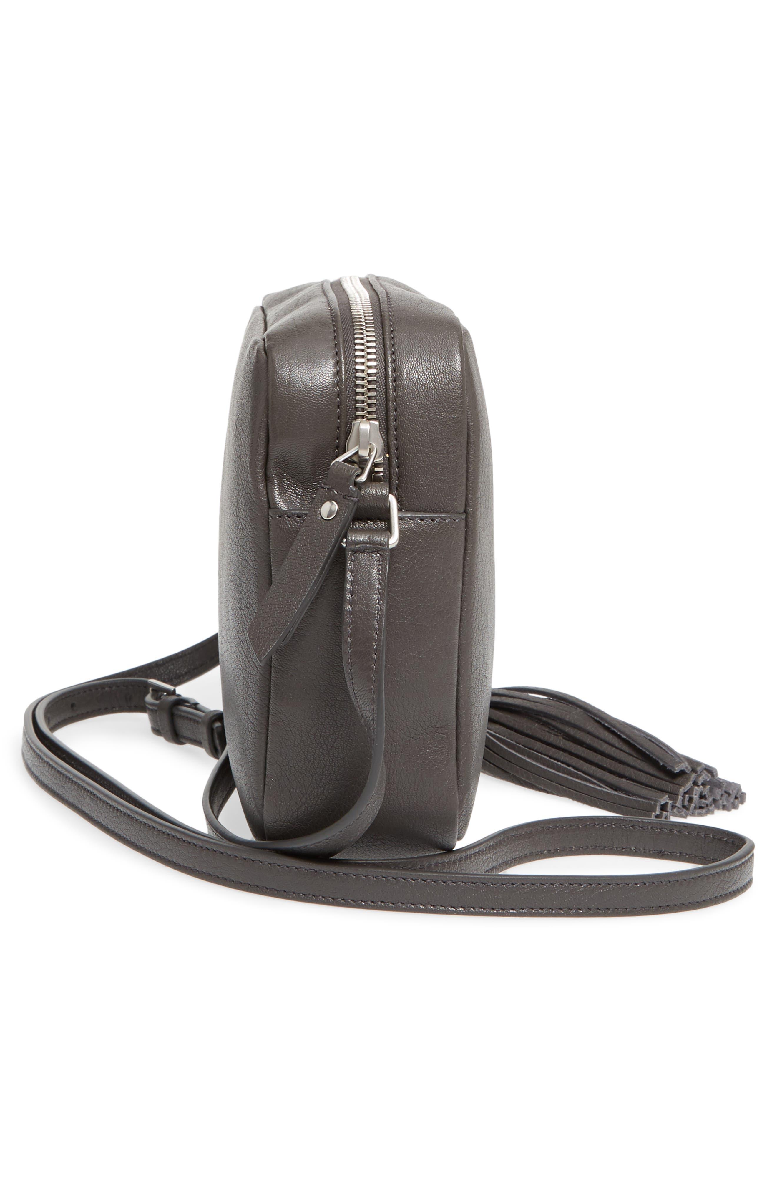 Small Mono Leather Camera Bag,                             Alternate thumbnail 5, color,                             Asphalt