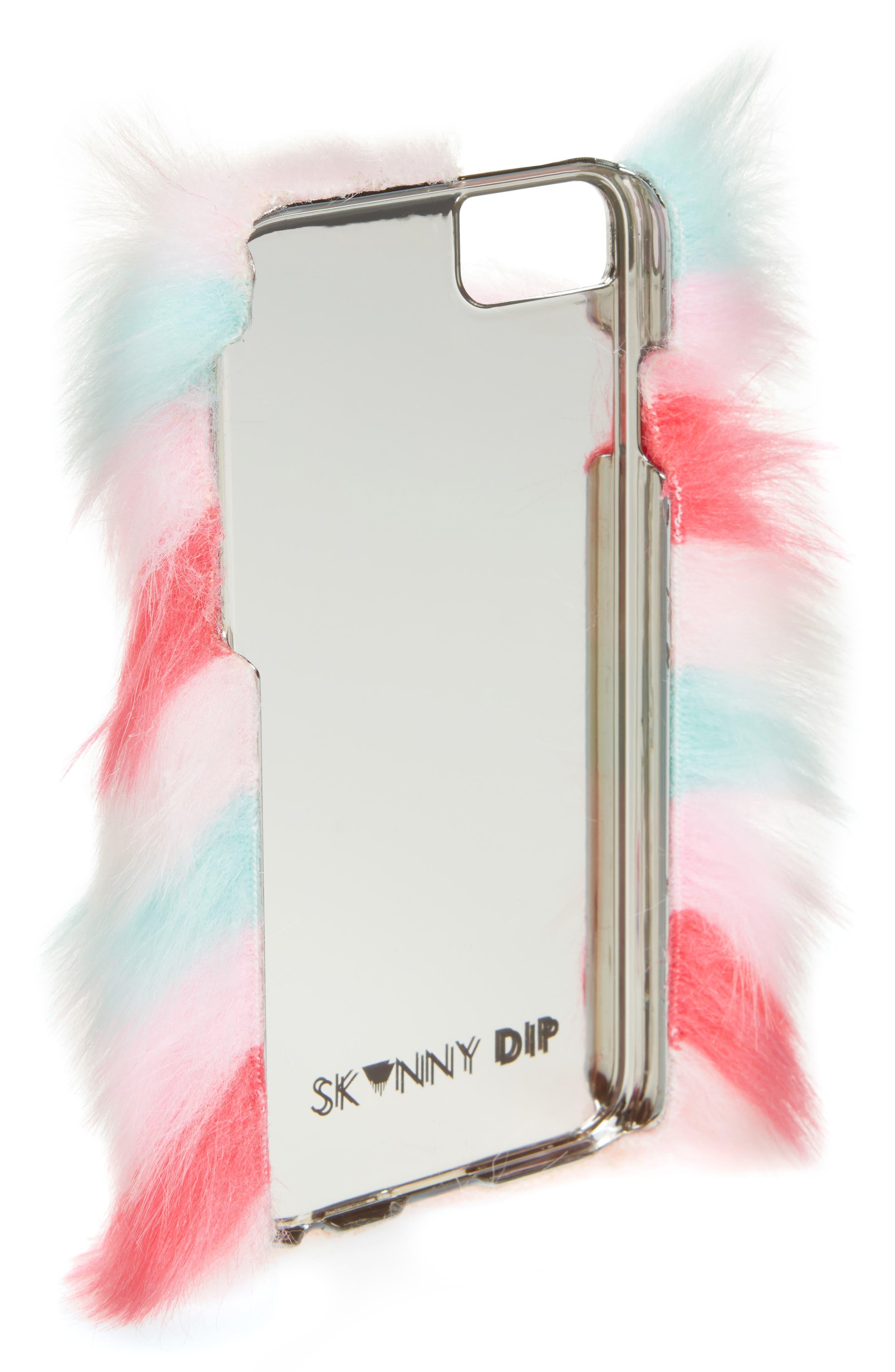 Skinny Dip Prism iPhone 6/6s/7/8 & 6/6s/7/8 Plus Faux Fur Case,                             Alternate thumbnail 2, color,                             Multi