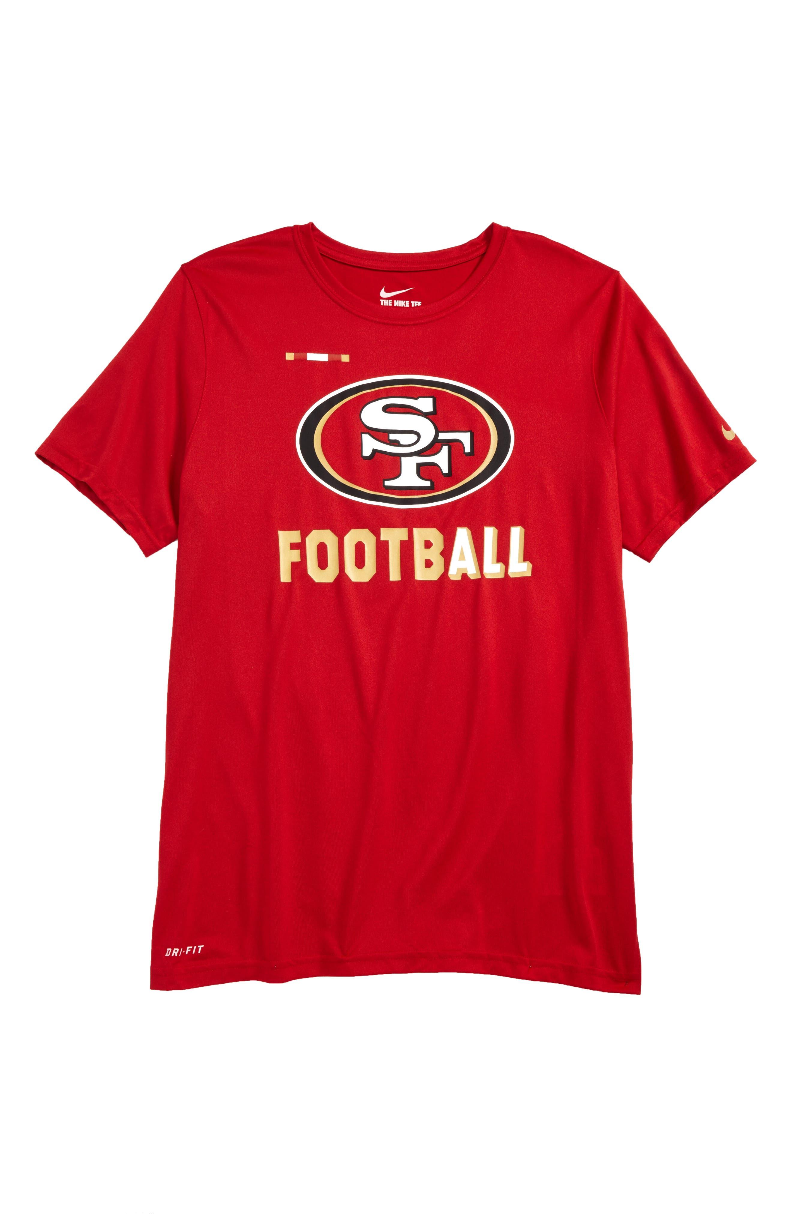 Nike NFL Logo - San Francisco 49ers Dry T-Shirt,                             Main thumbnail 1, color,                             Gym Red