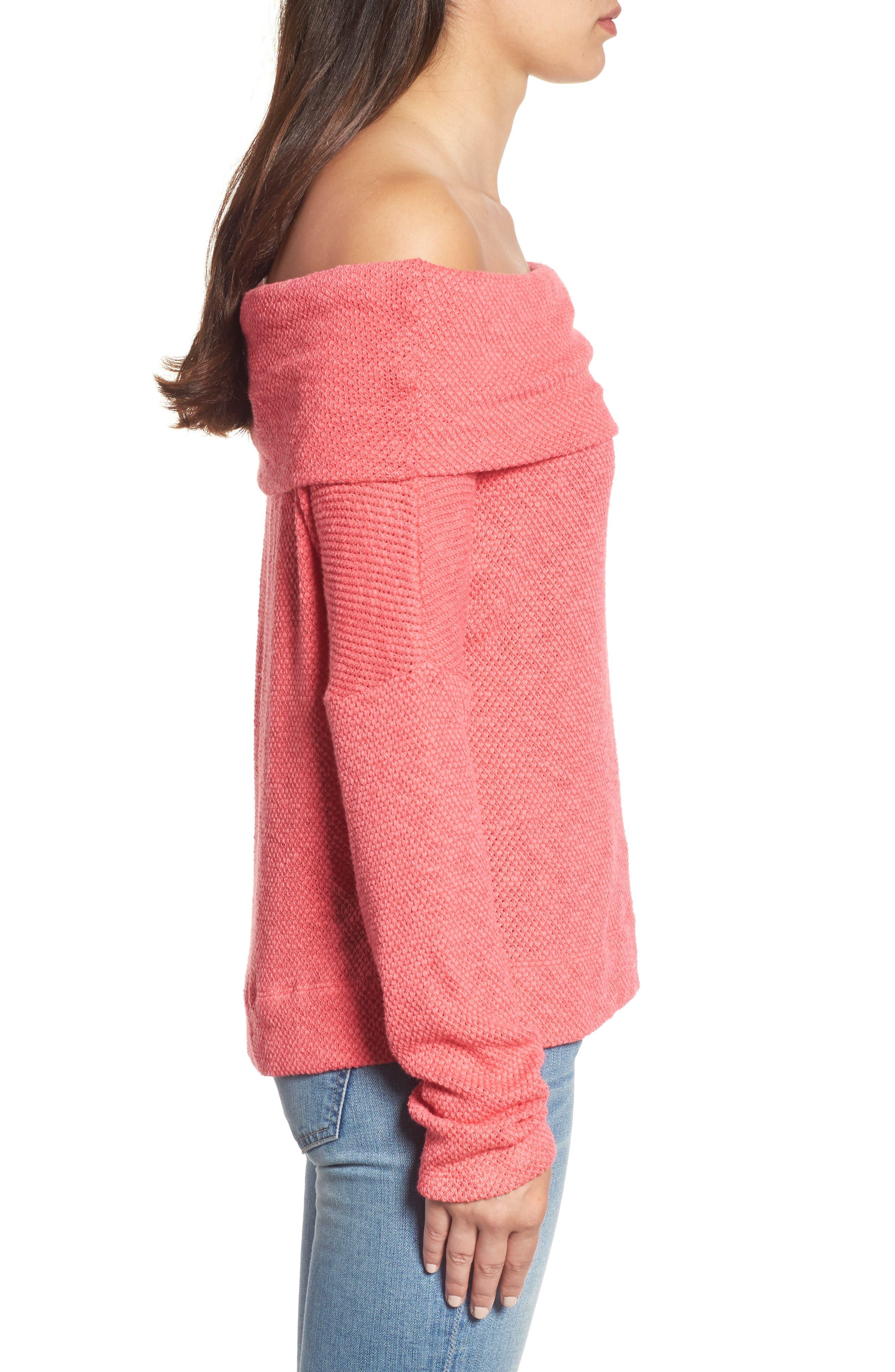 Convertible Neck Knit Pullover,                             Alternate thumbnail 4, color,                             Pink Ribbon