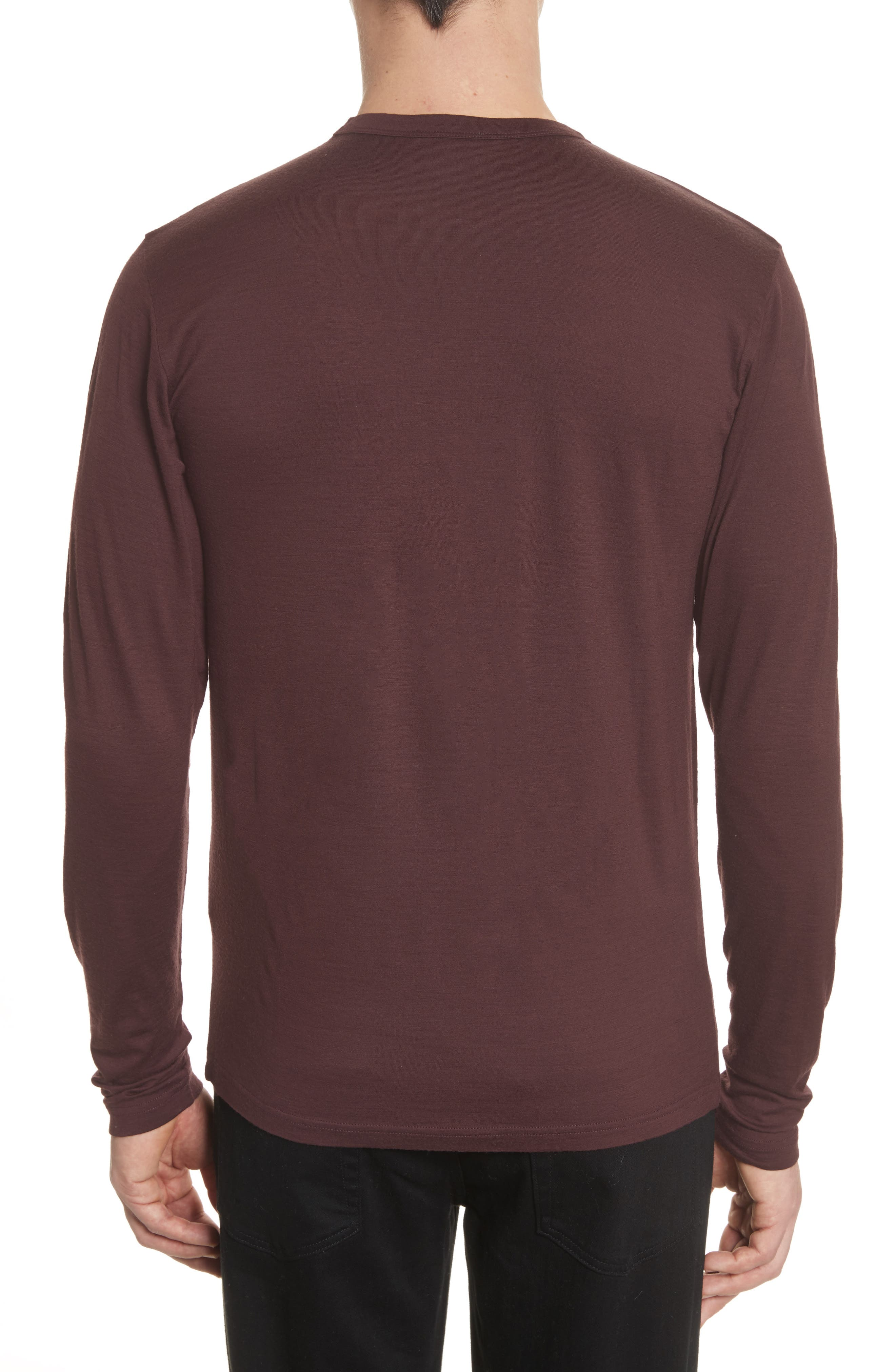 Mercerized Wool Long Sleeve T-Shirt,                             Alternate thumbnail 2, color,                             Hematite Red