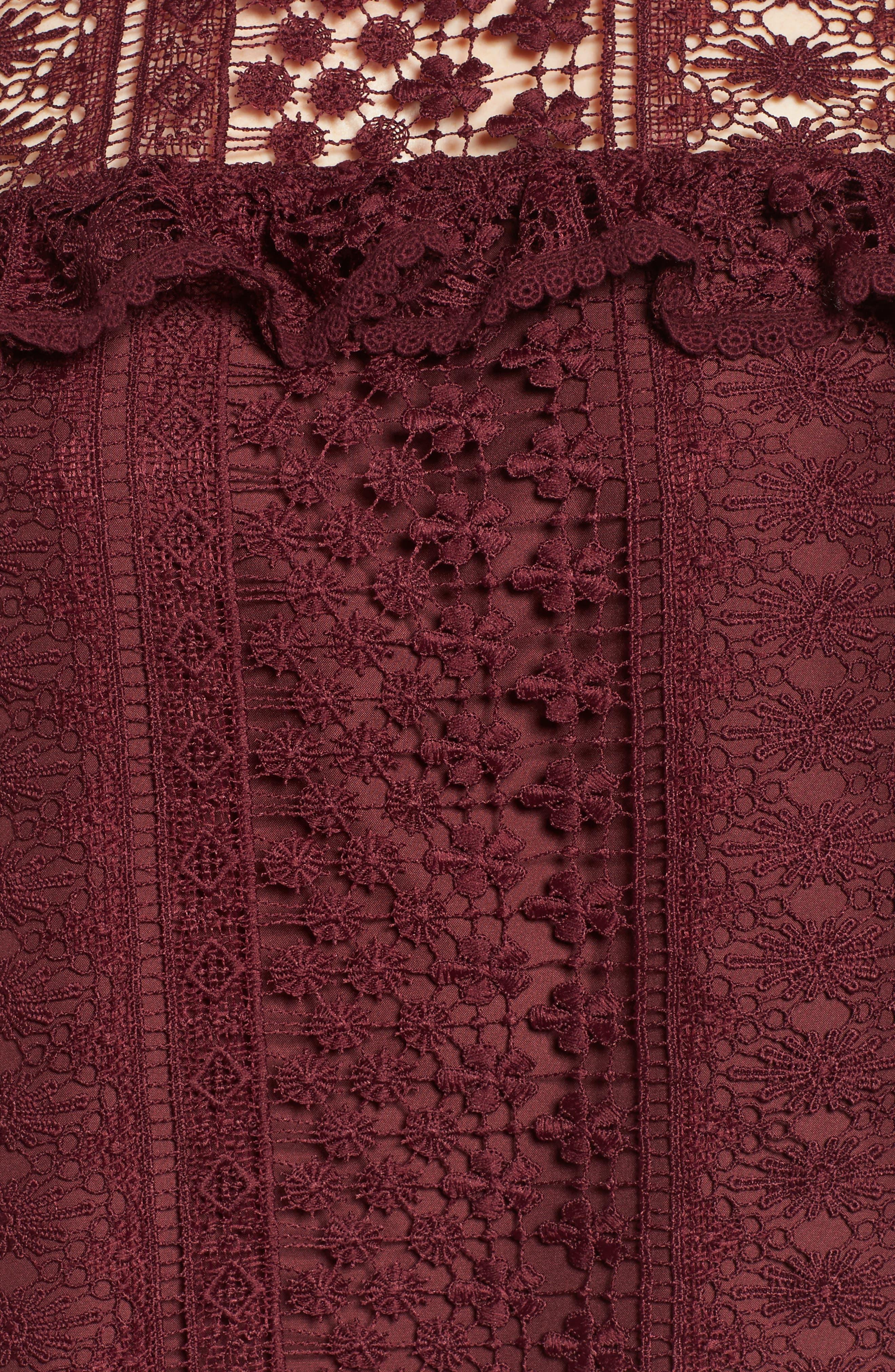 Kebecka Lace Top,                             Alternate thumbnail 5, color,                             Malbec