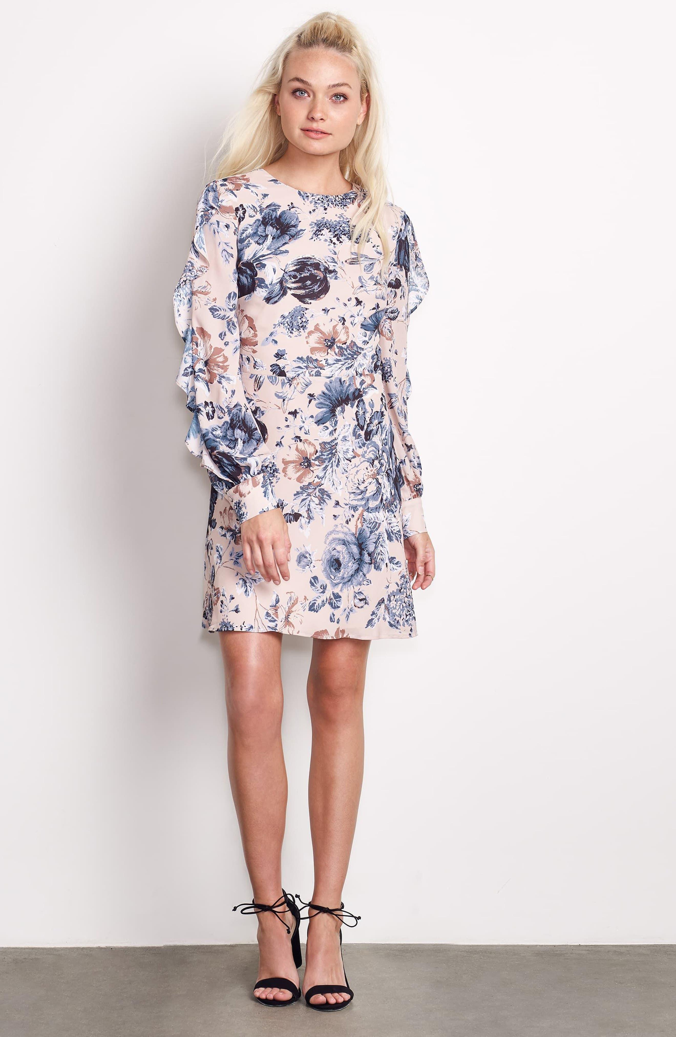 Merci Floral Fit & Flare Dress,                             Alternate thumbnail 7, color,                             Champagne Floral
