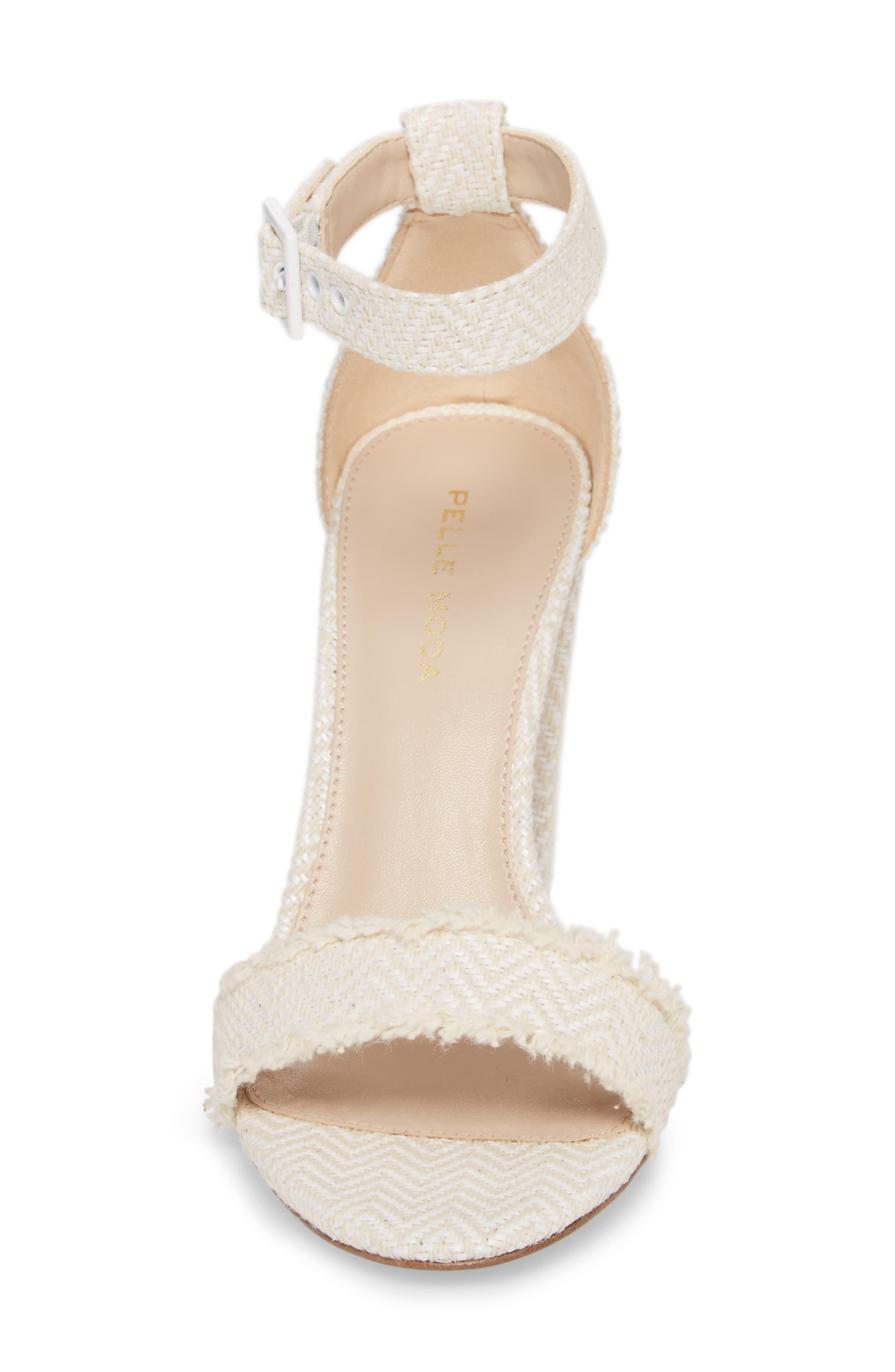 Bonnie Ankle Strap Sandal,                             Alternate thumbnail 4, color,                             White Herringbone