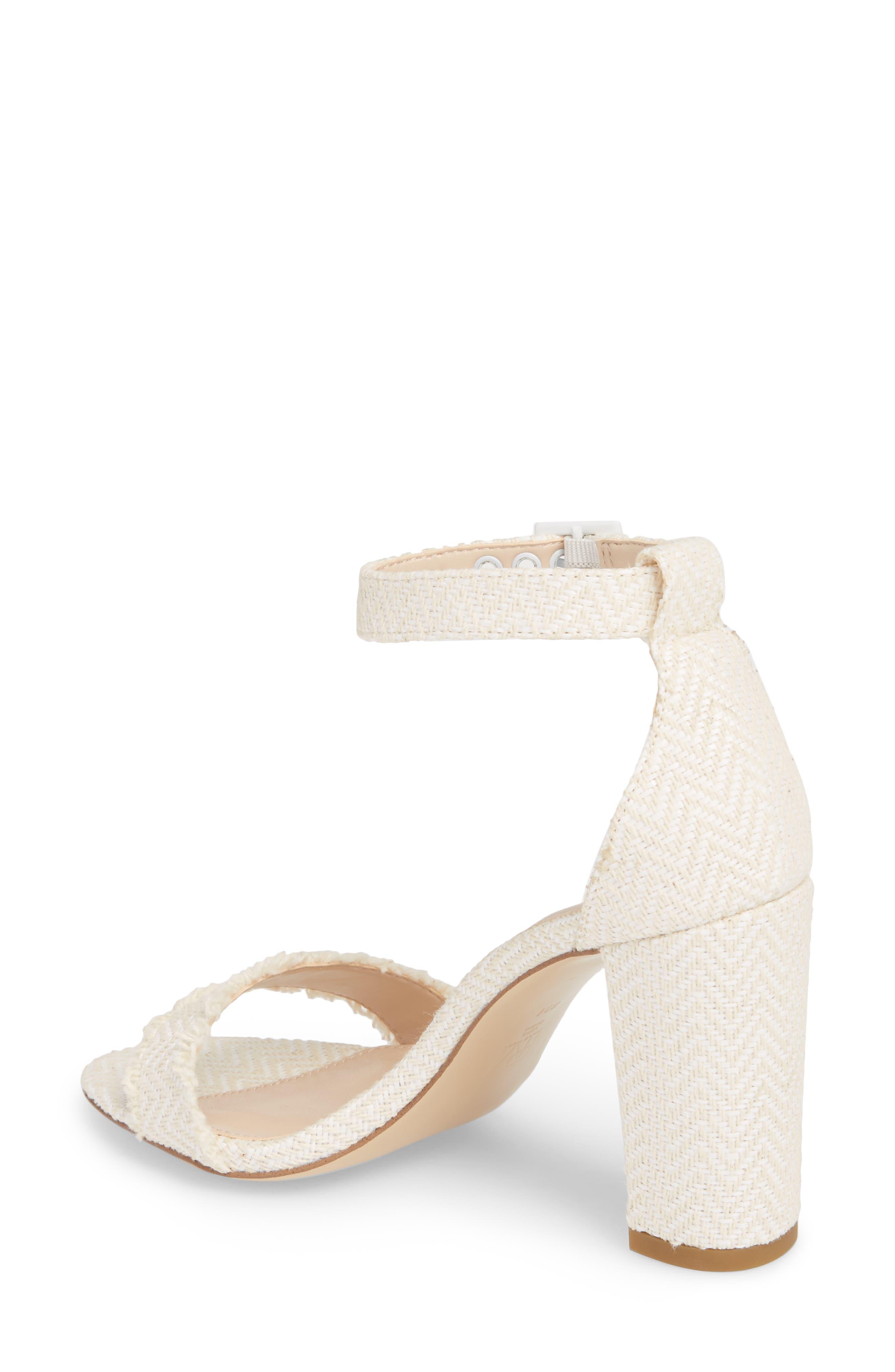 Bonnie Ankle Strap Sandal,                             Alternate thumbnail 2, color,                             White Herringbone