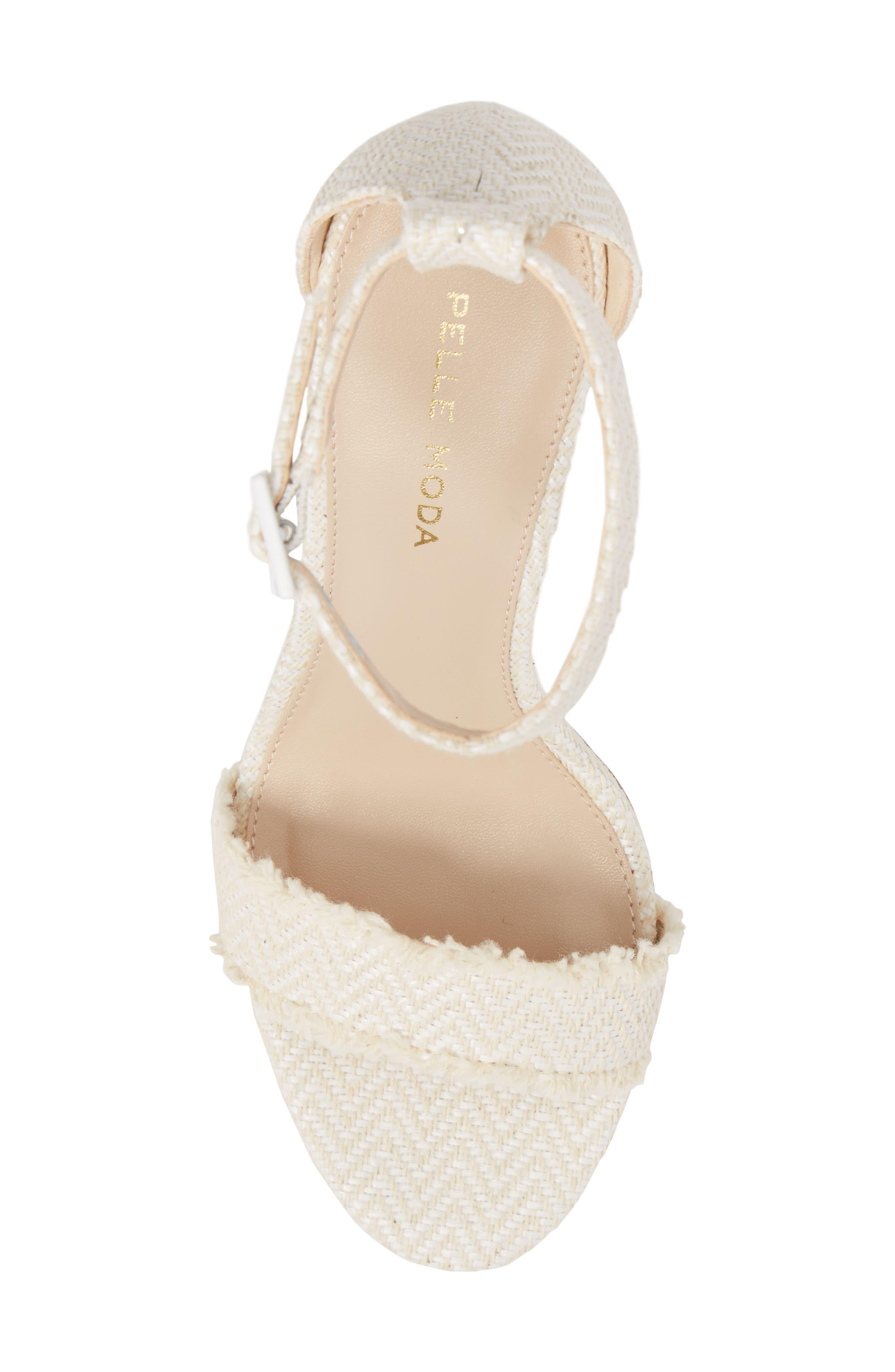 Bonnie Ankle Strap Sandal,                             Alternate thumbnail 5, color,                             White Herringbone