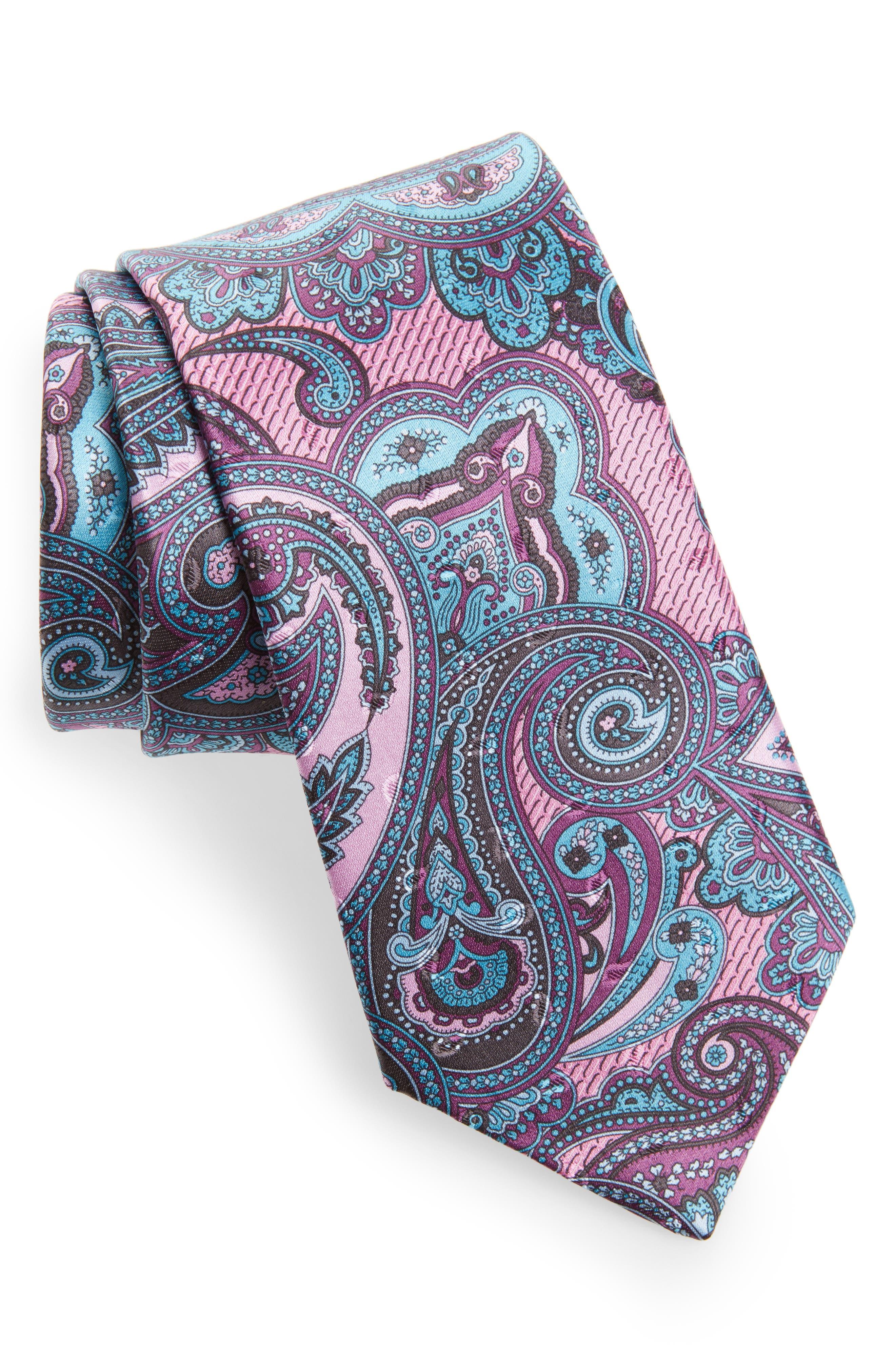 Paisley Silk Tie,                             Main thumbnail 1, color,                             Pink