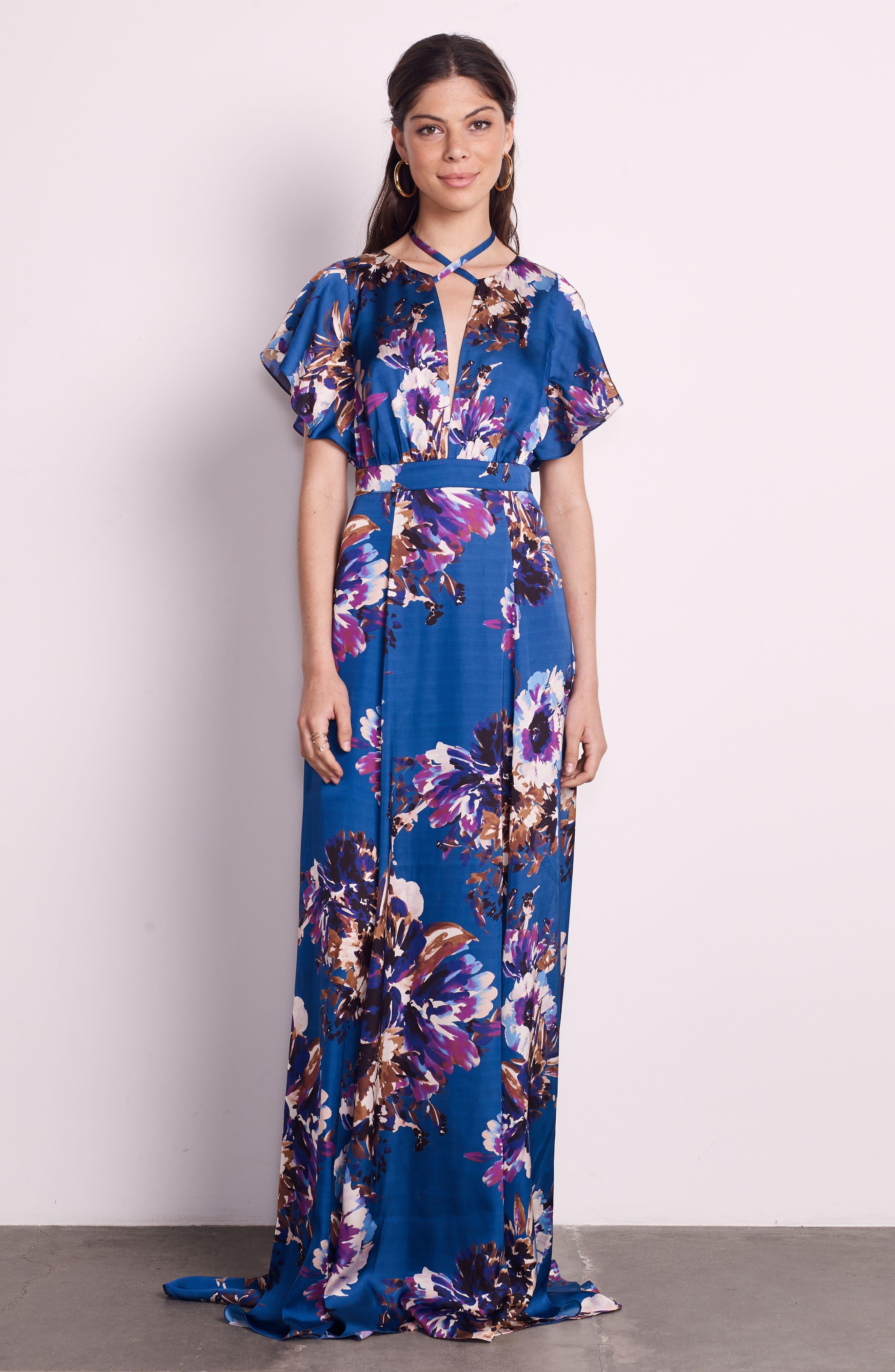 Floral Maxi Dress,                             Alternate thumbnail 2, color,                             French Blue Floral Satin