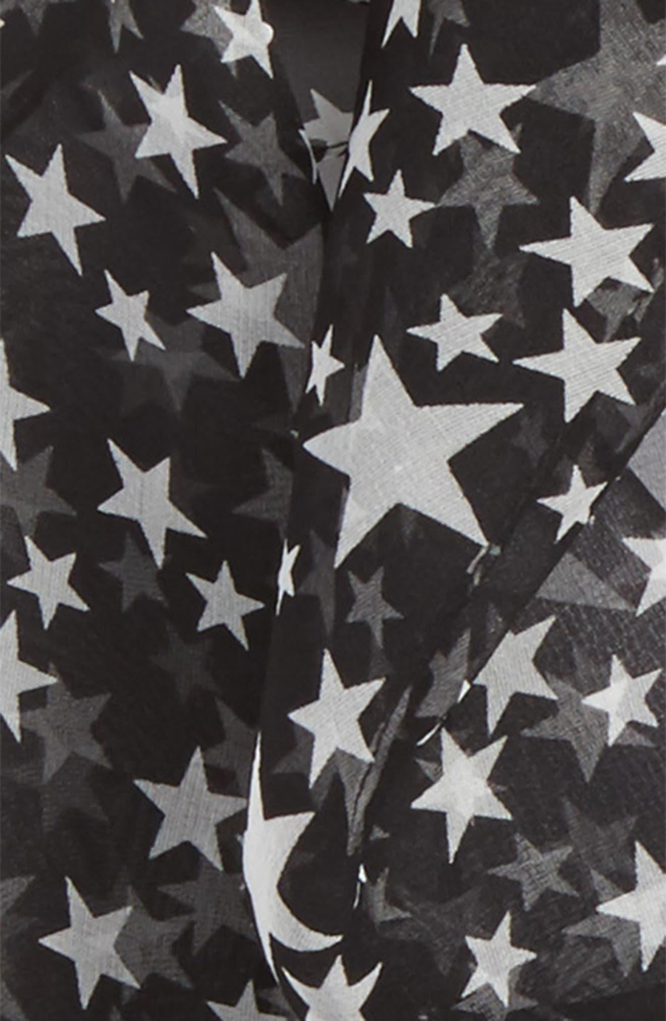 Star Print Silk Skinny Scarf,                             Alternate thumbnail 3, color,                             Black