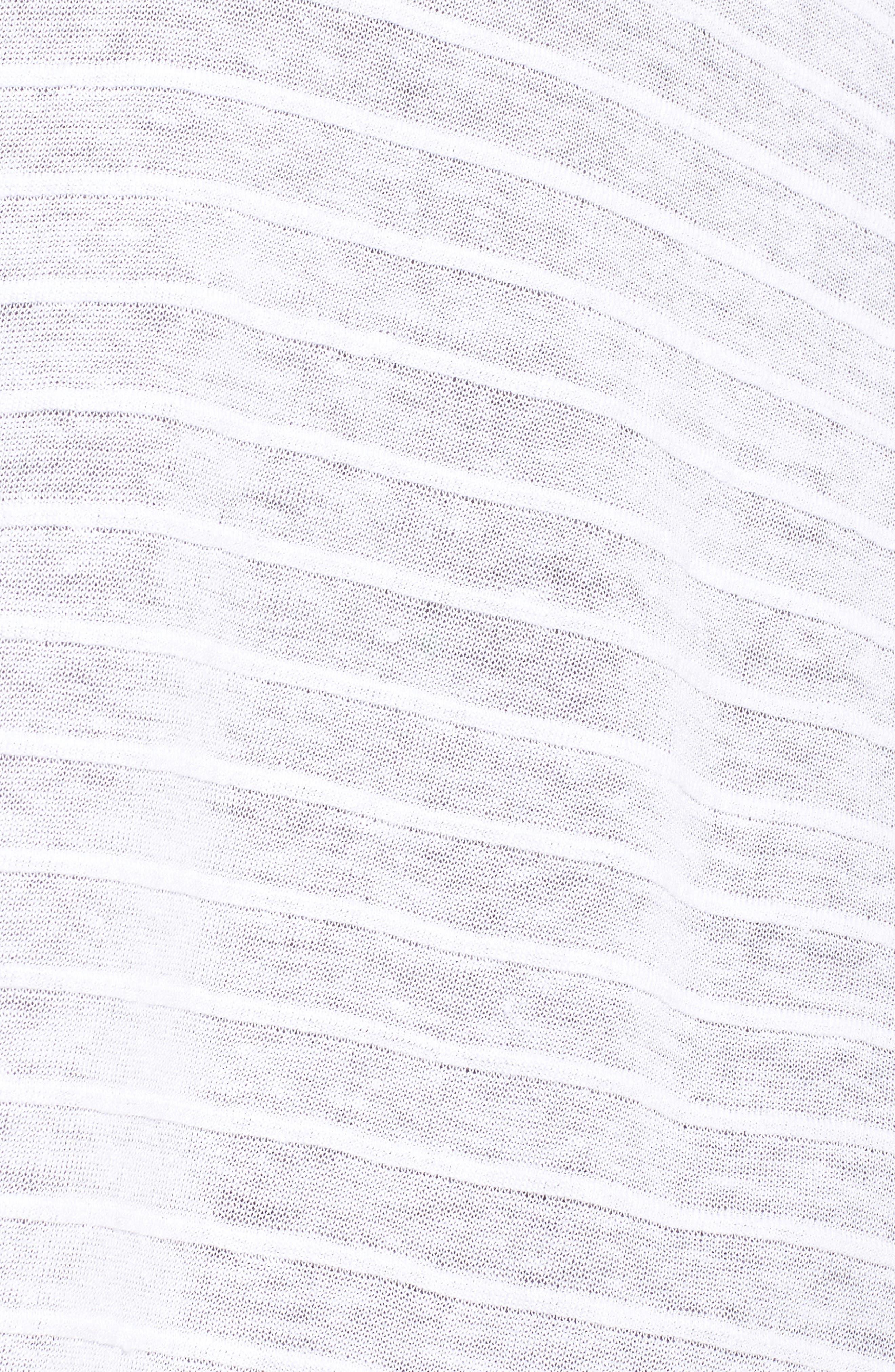 Shadow Stripe Organic Linen Cardigan,                             Alternate thumbnail 5, color,                             White