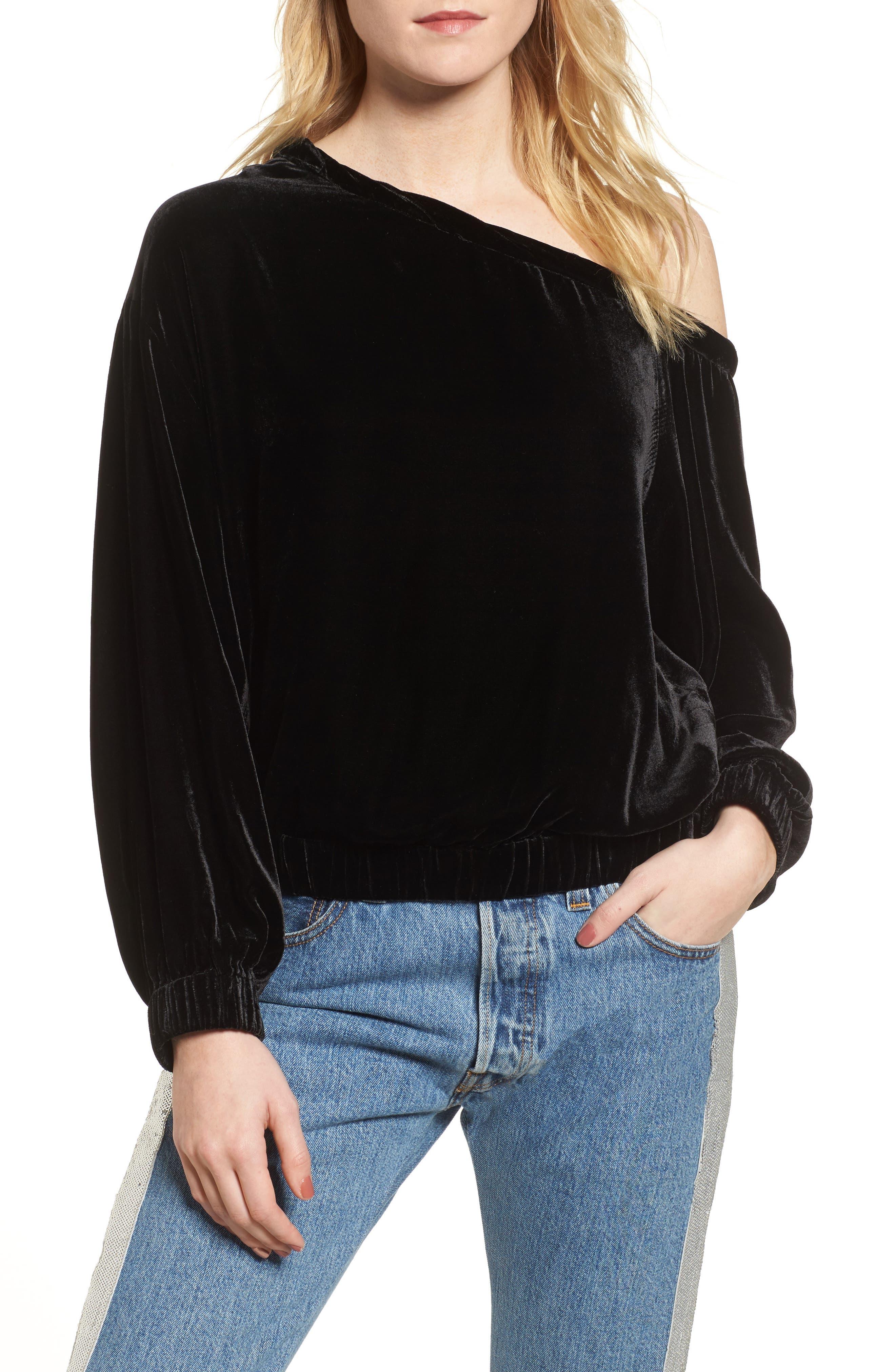 Off the Shoulder Velvet Top,                         Main,                         color, Black