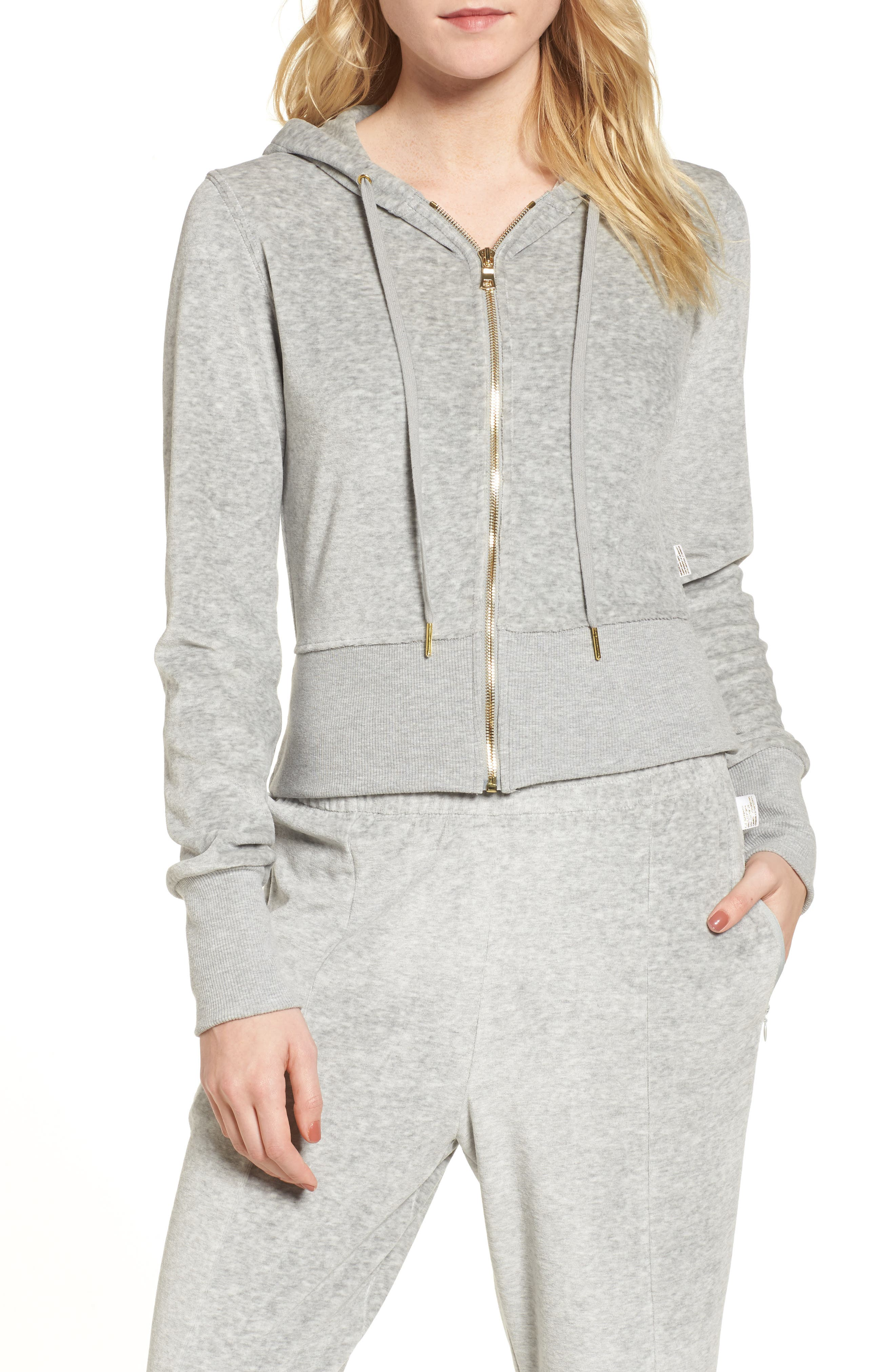 Crop Velour Hoodie,                             Main thumbnail 1, color,                             Good Heather Grey