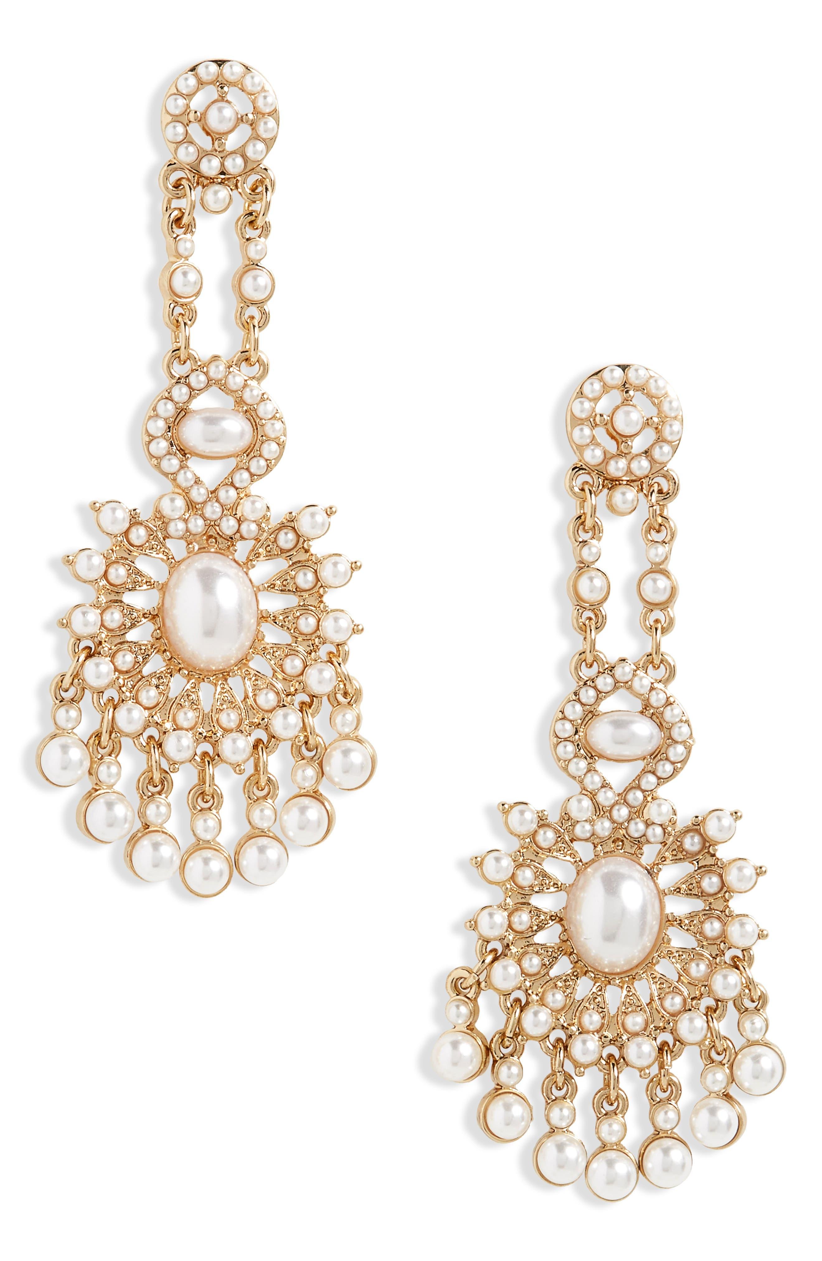 Imitation Pearl Chandelier Earrings,                             Main thumbnail 1, color,                             Gold