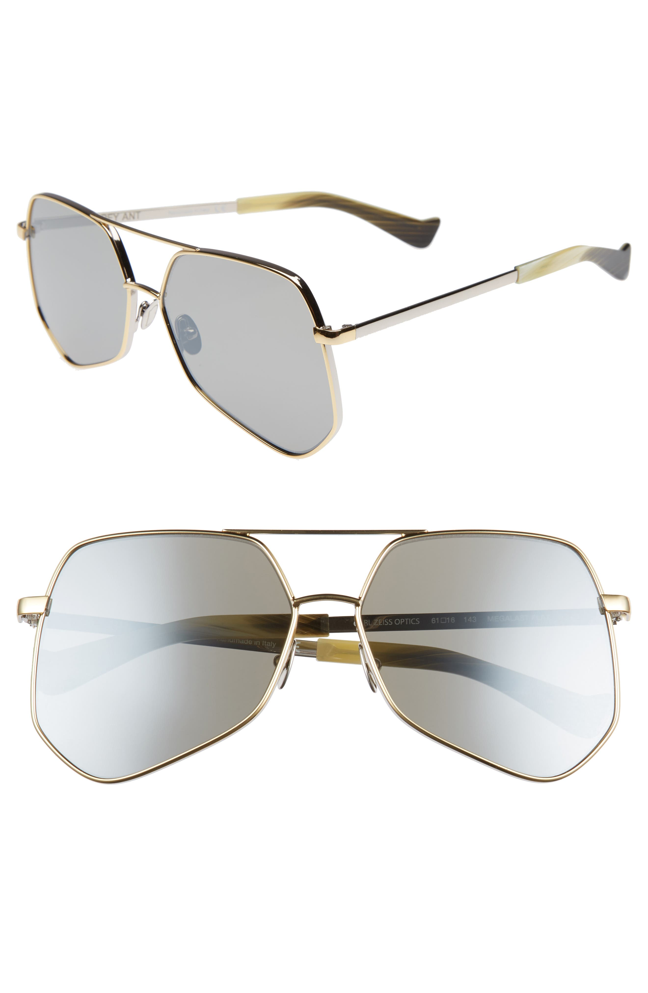Megalast Flat 61mm Sunglasses,                         Main,                         color, Silver Gold/ Silver