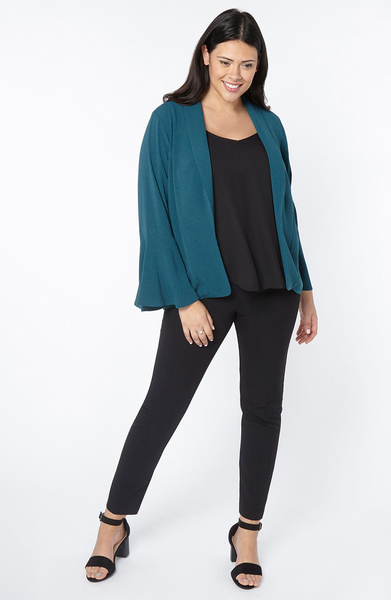 Bell Sleeve Crepe Jacket,                             Alternate thumbnail 2, color,                             Teal