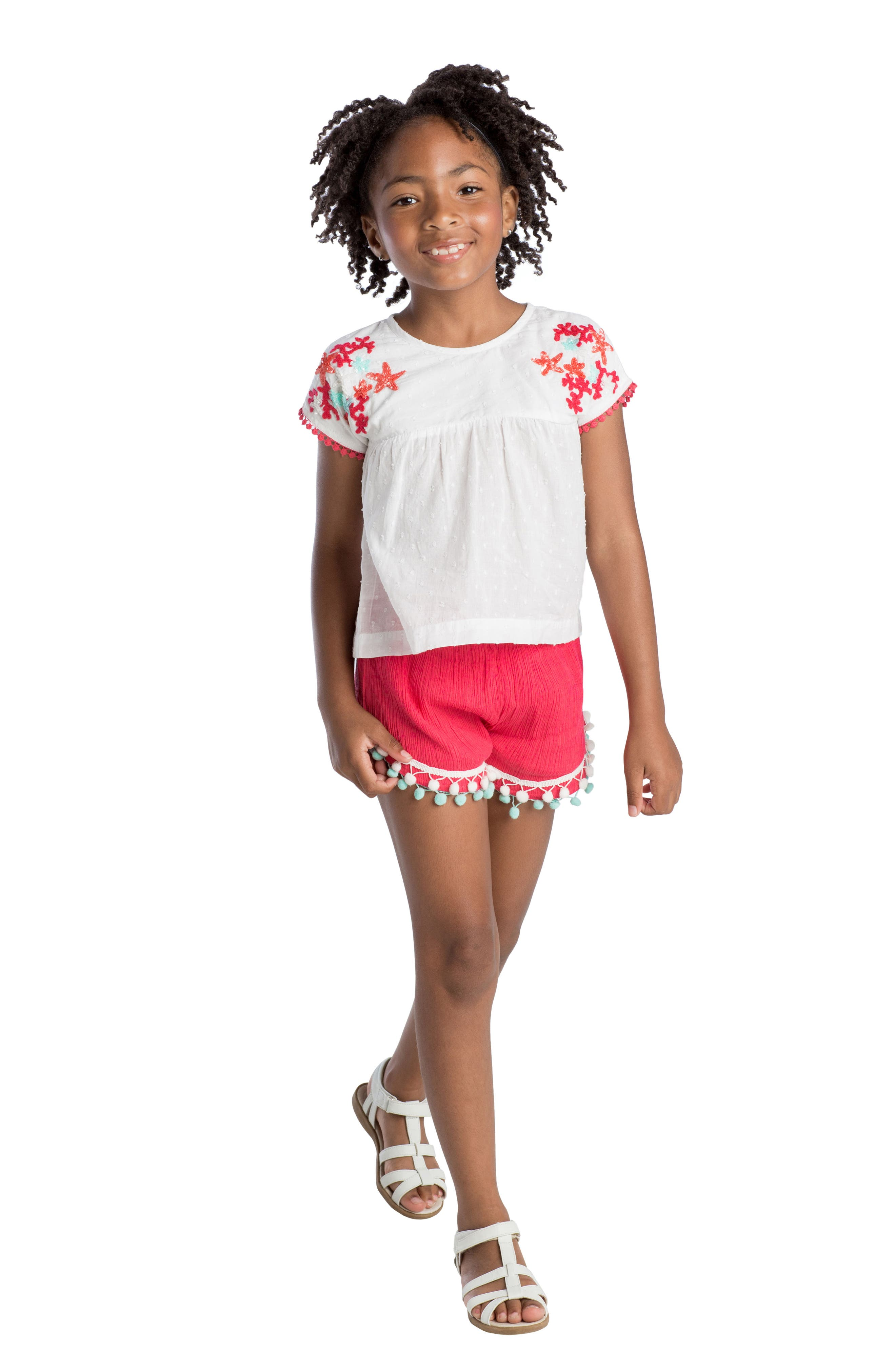 Alternate Image 2  - Masalababy Pompom Shorts (Toddler Girls, Little Girls & Big Girls)