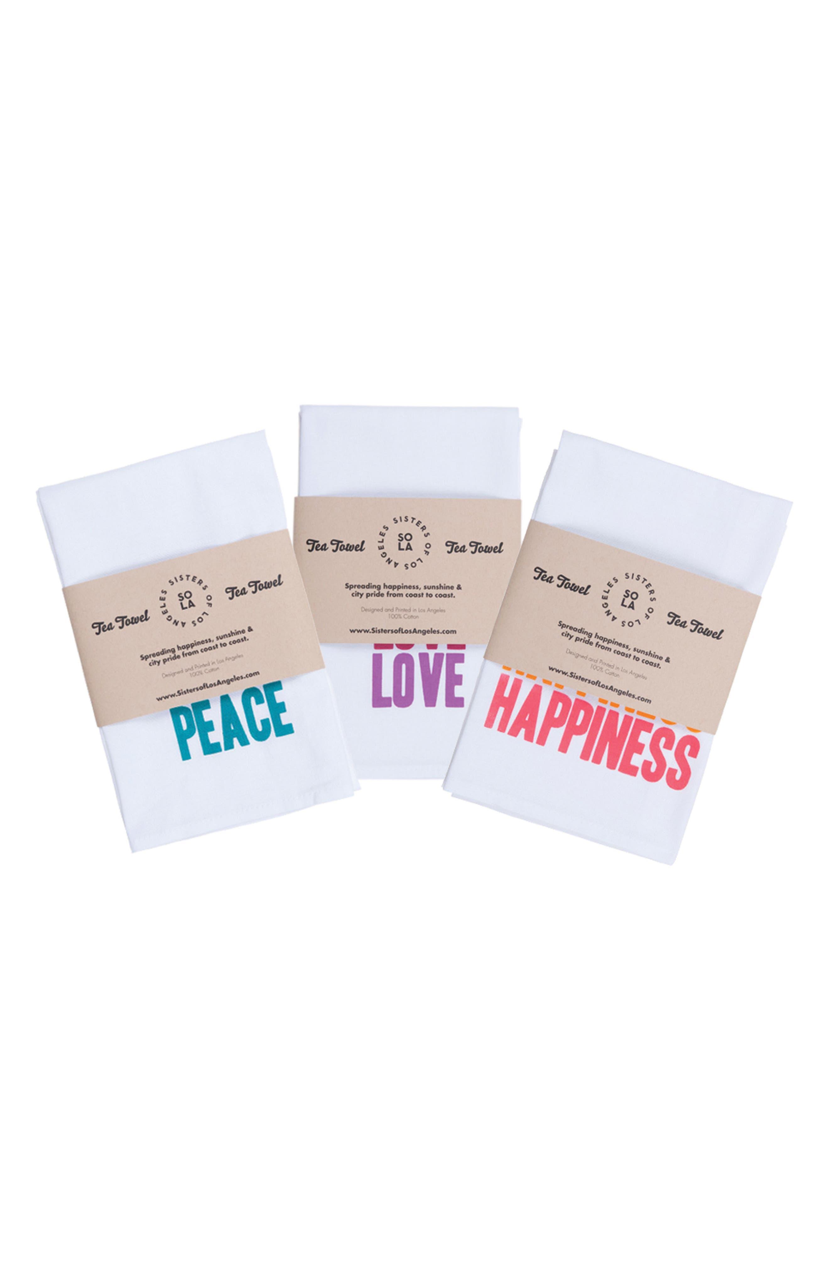 Alternate Image 10  - Sisters of Los Angeles Peace Love Happiness Set of 3 Tea Towels